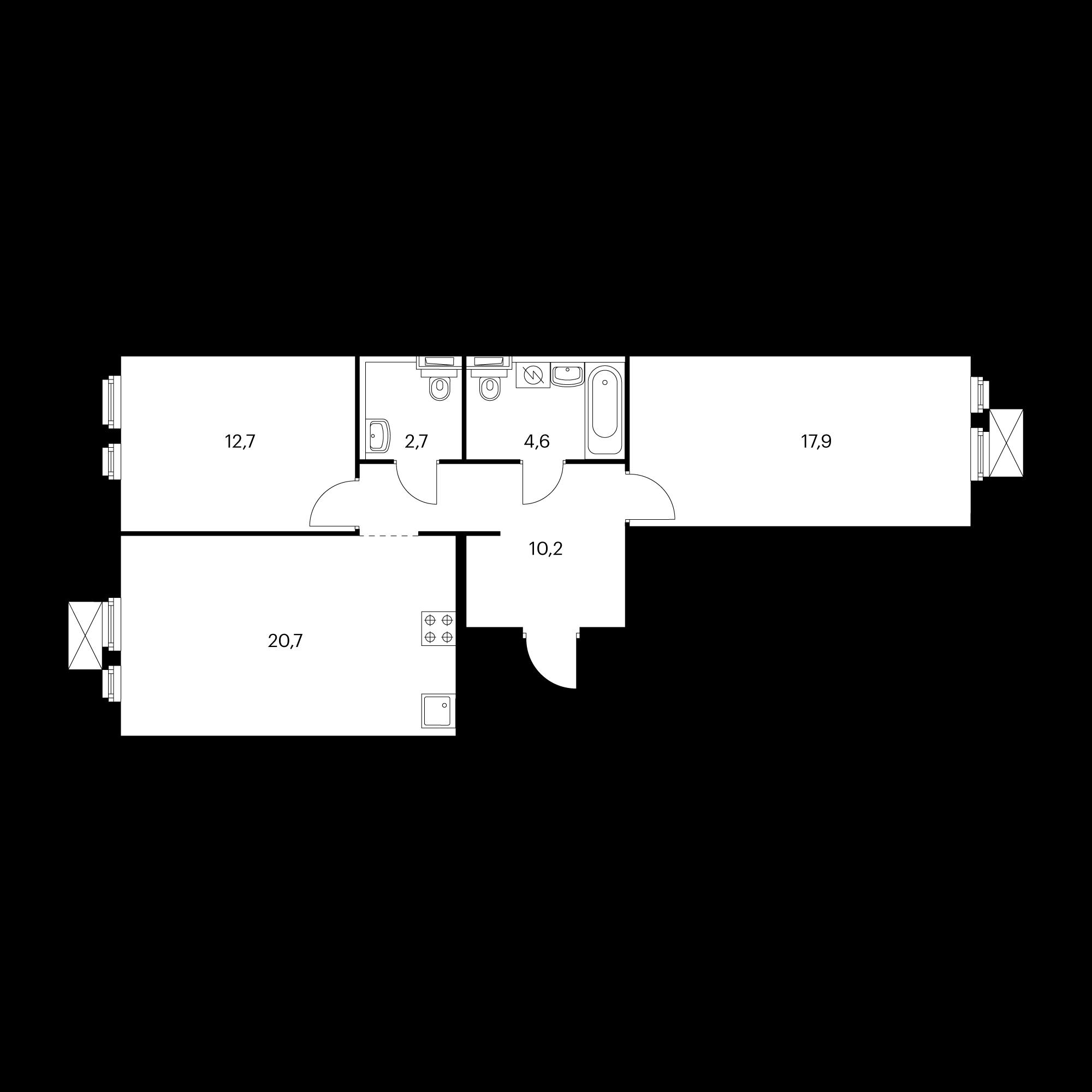 2-комнатная 68.8 м²