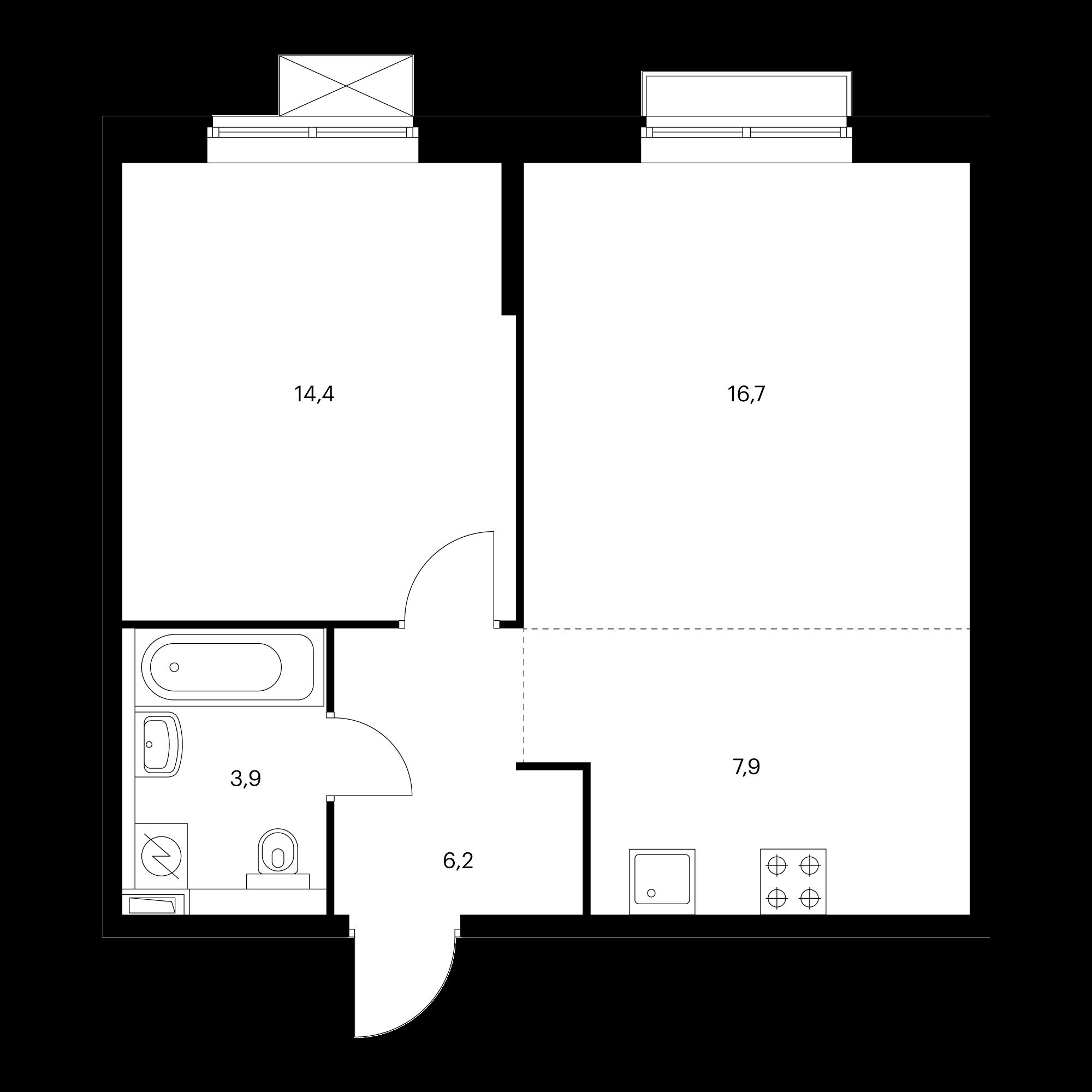 2-комнатная 49.1  м²