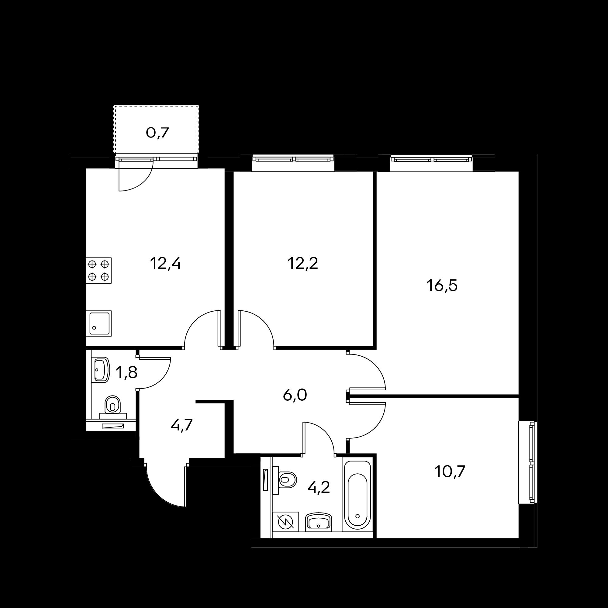 3-комнатная 69.2 м²