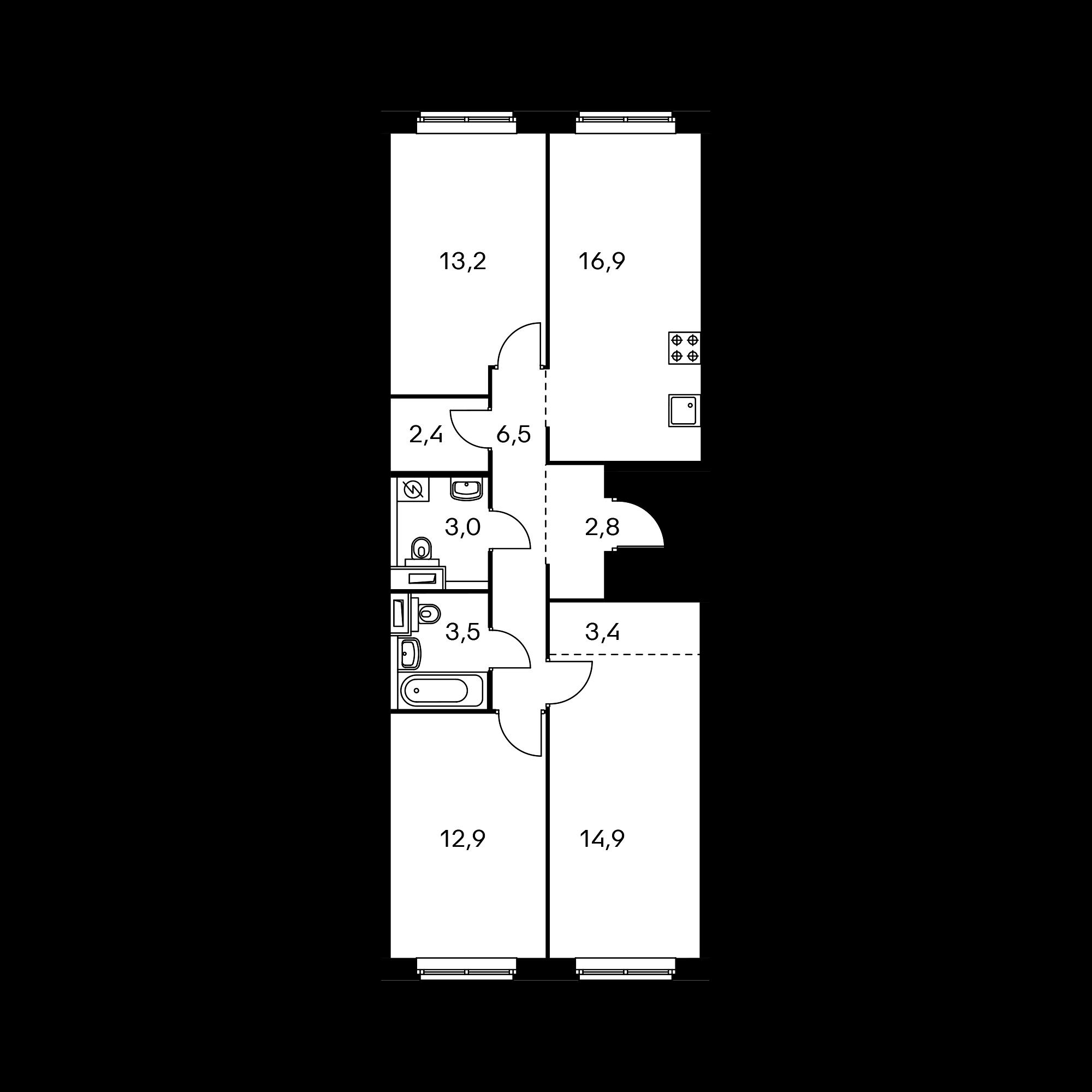 3-комнатная 79.4 м²