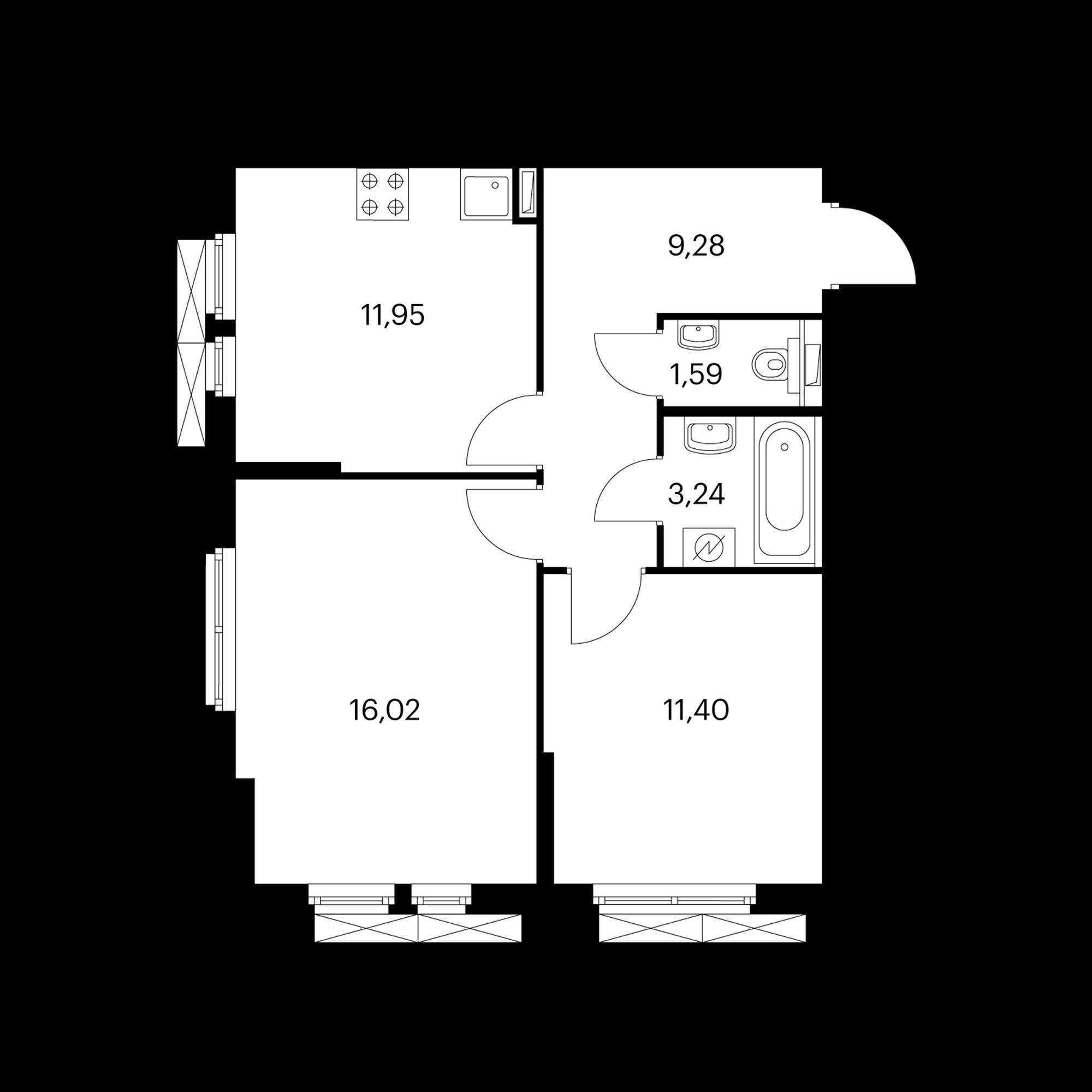 2-комнатная 53.48 м²