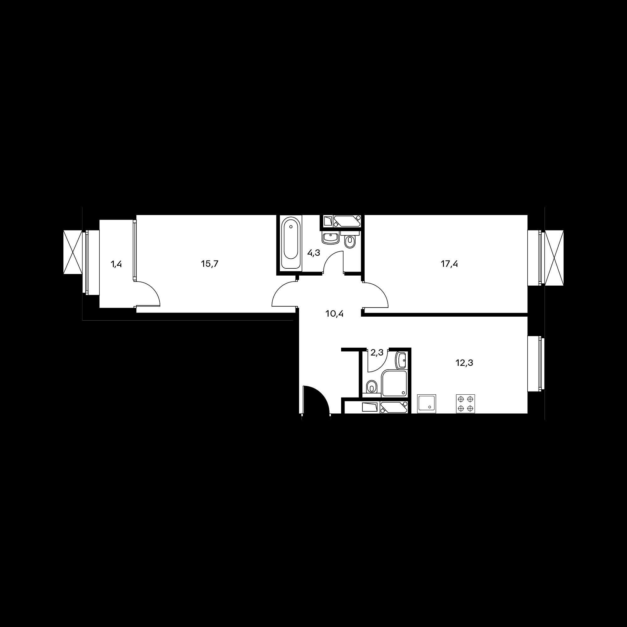 2-комнатная 64.4 м²