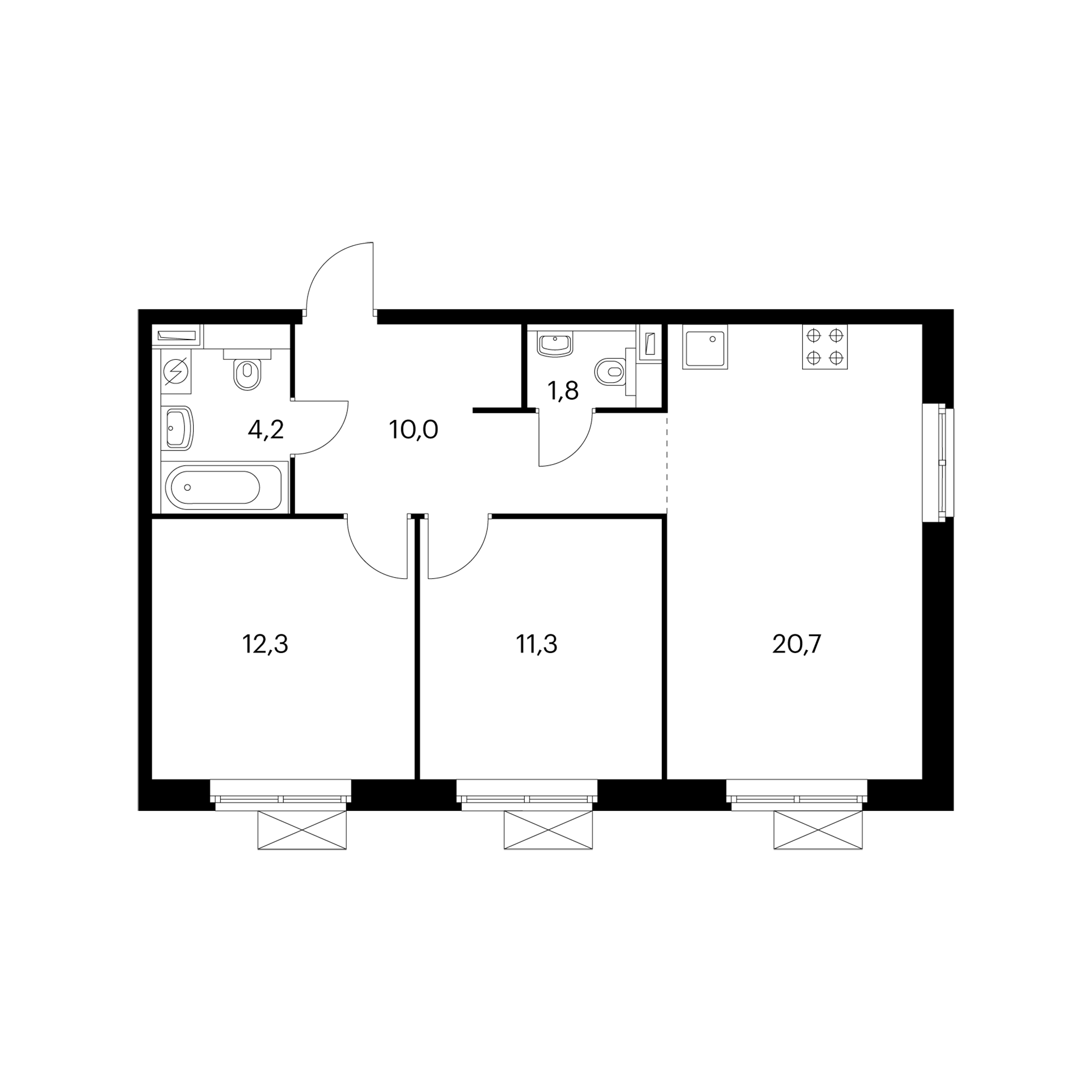 2-комнатная 60.3 м²