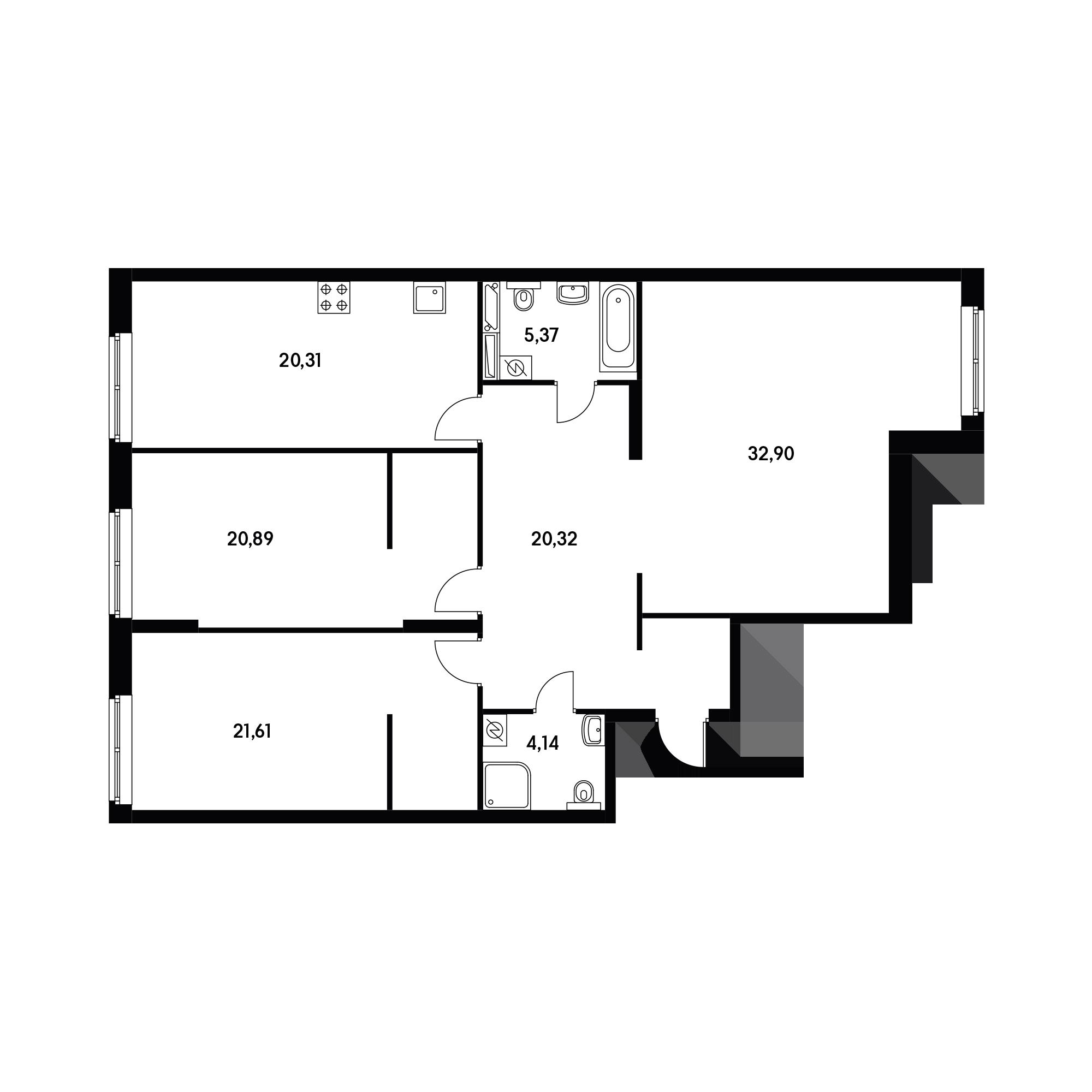 3-комнатная 125.54 м²