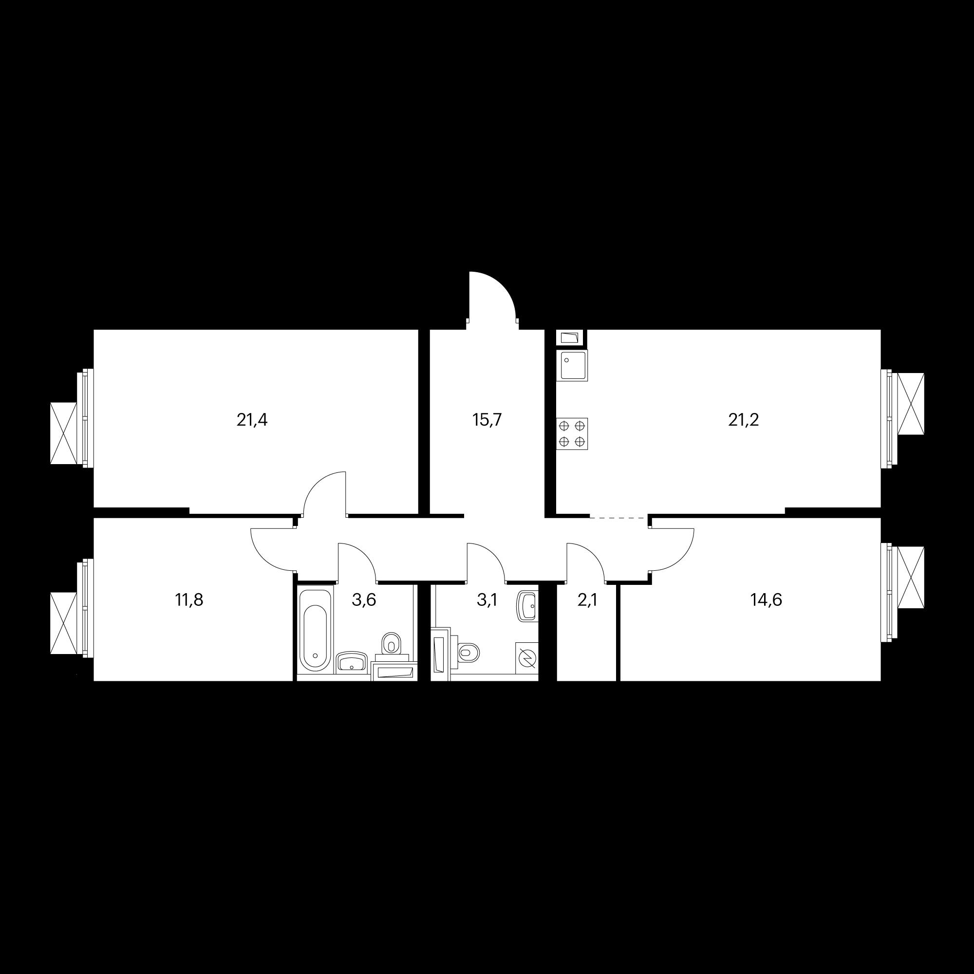 3-комнатная 93.5 м²