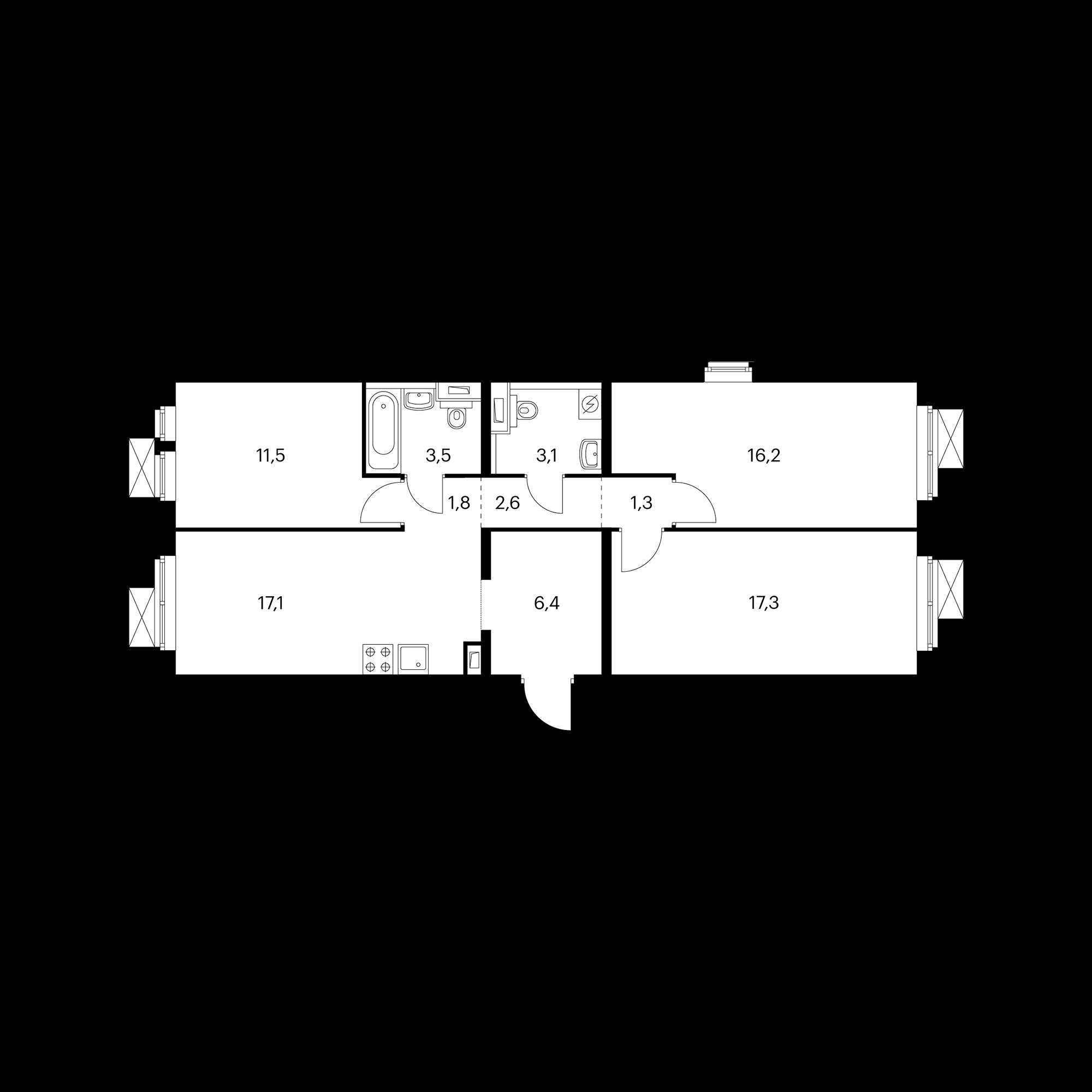 3-комнатная 81.2 м²