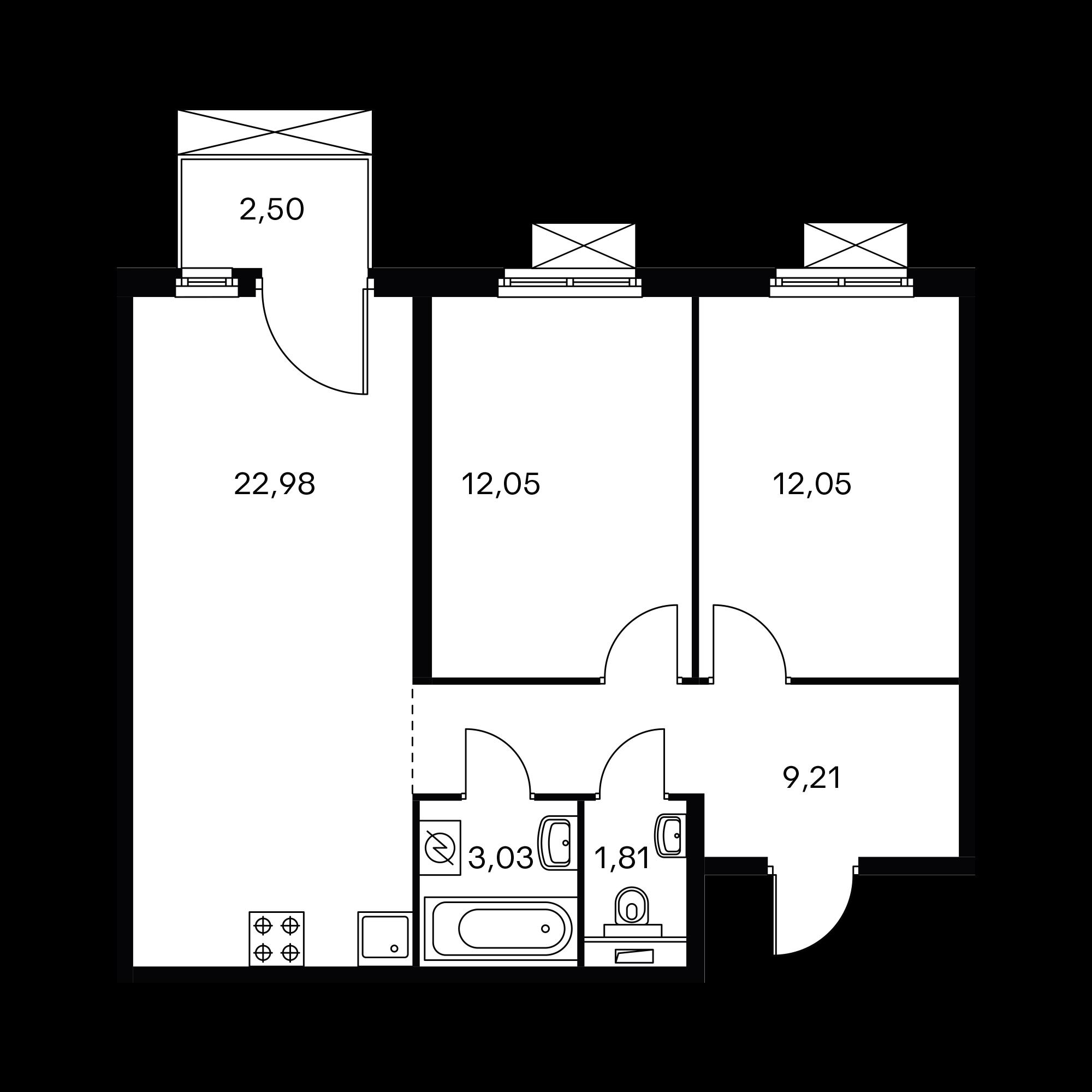 2-комнатная 61.88 м²