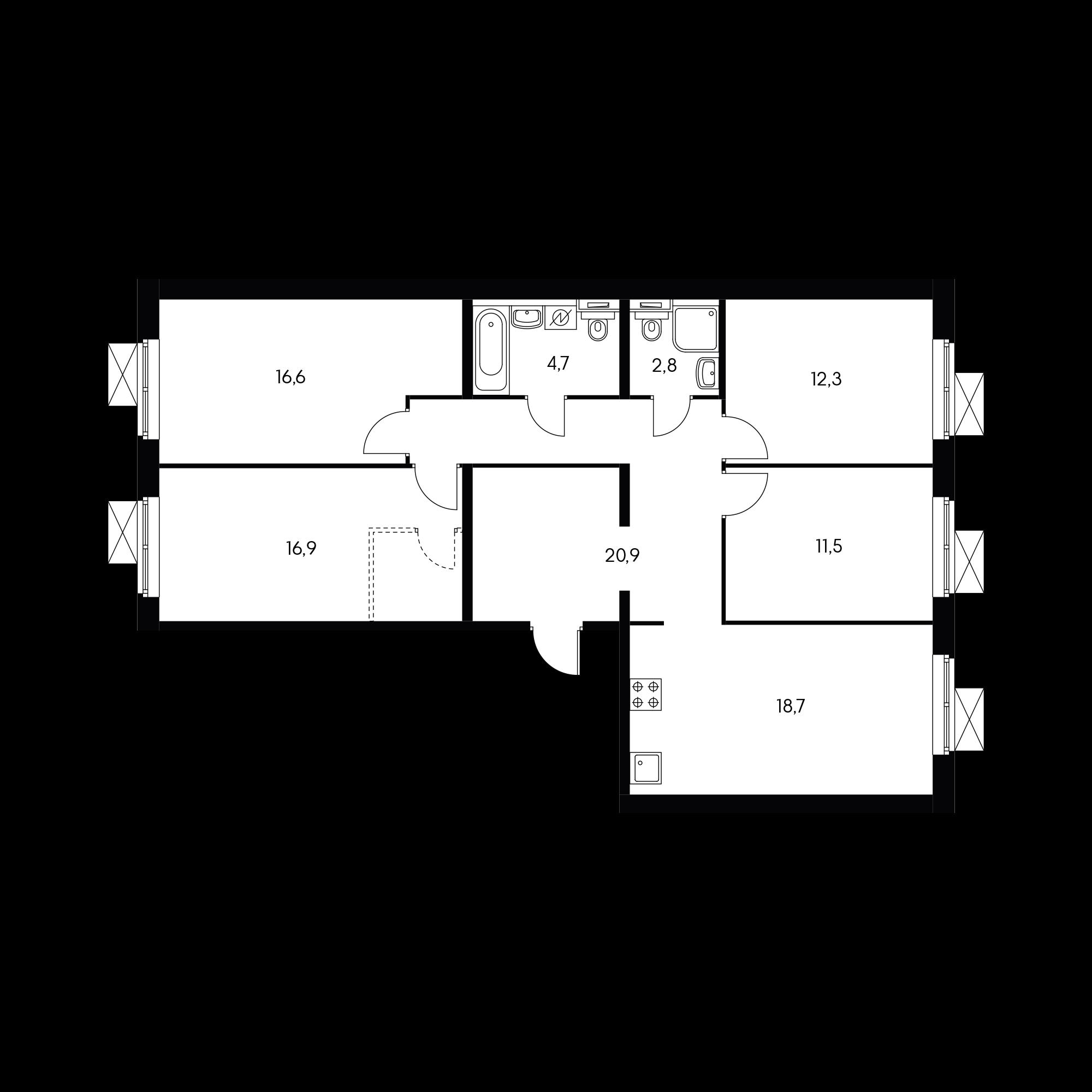 4-комнатная 102.9 м²