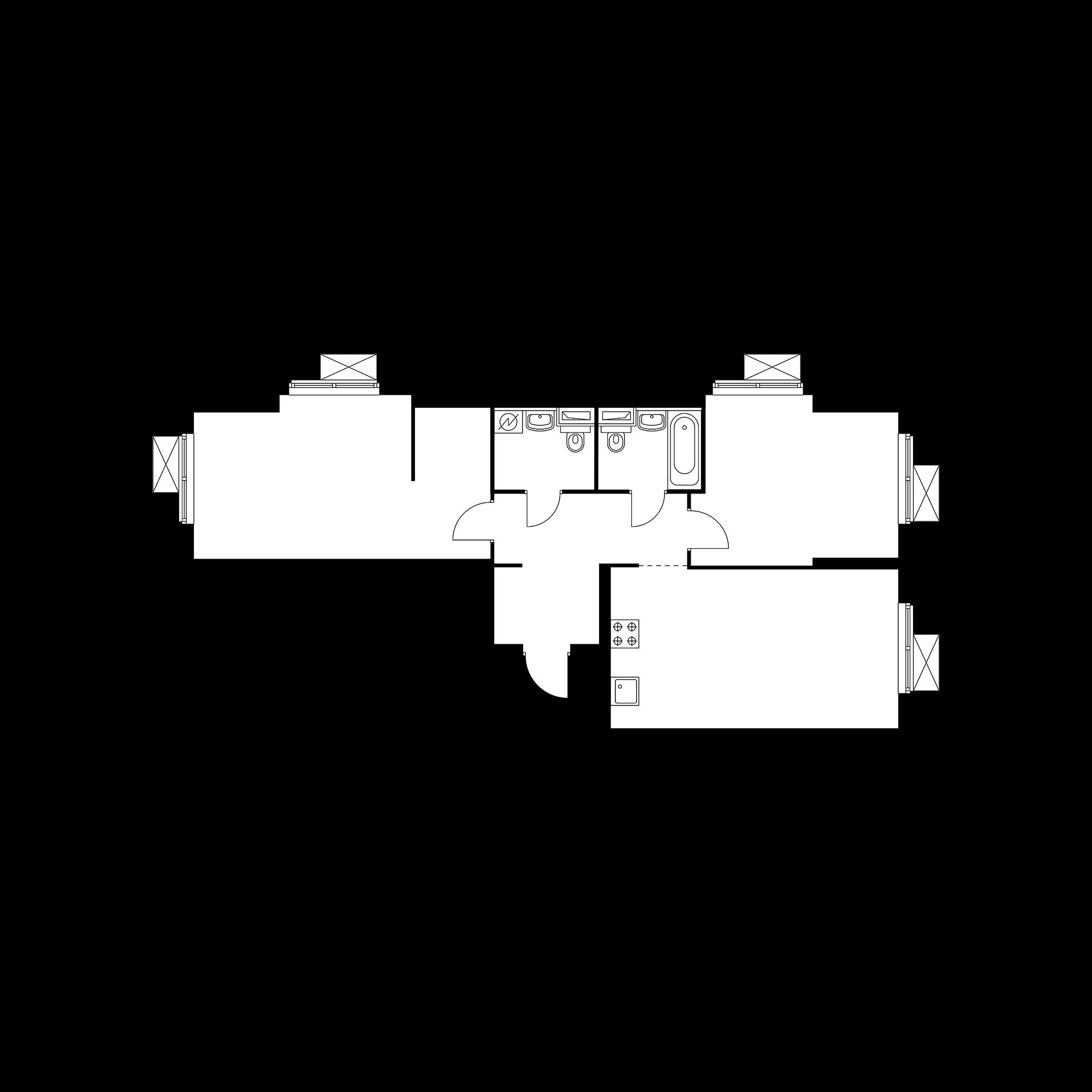 2-комнатная 72.28  м²