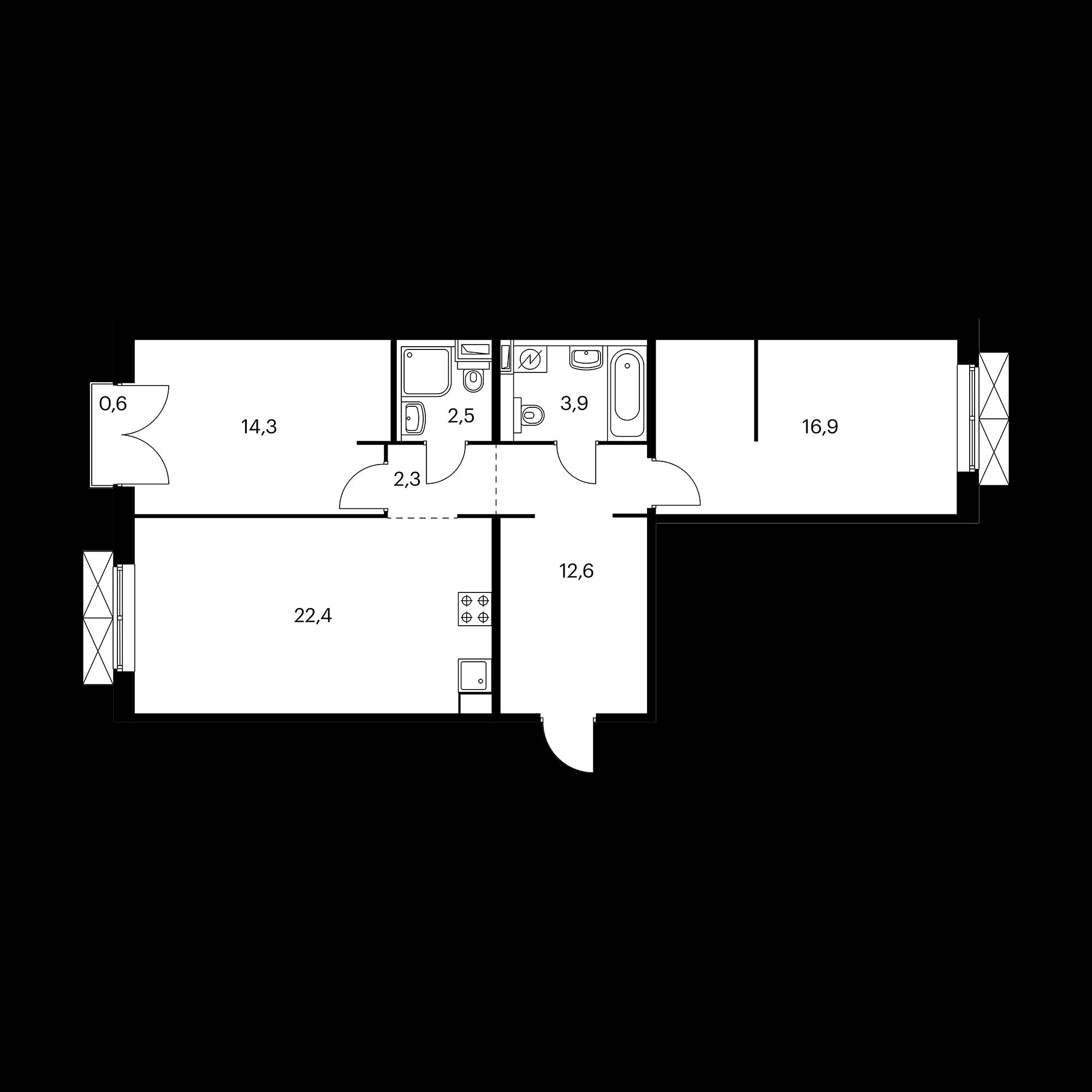 2-комнатная 75.1 м²