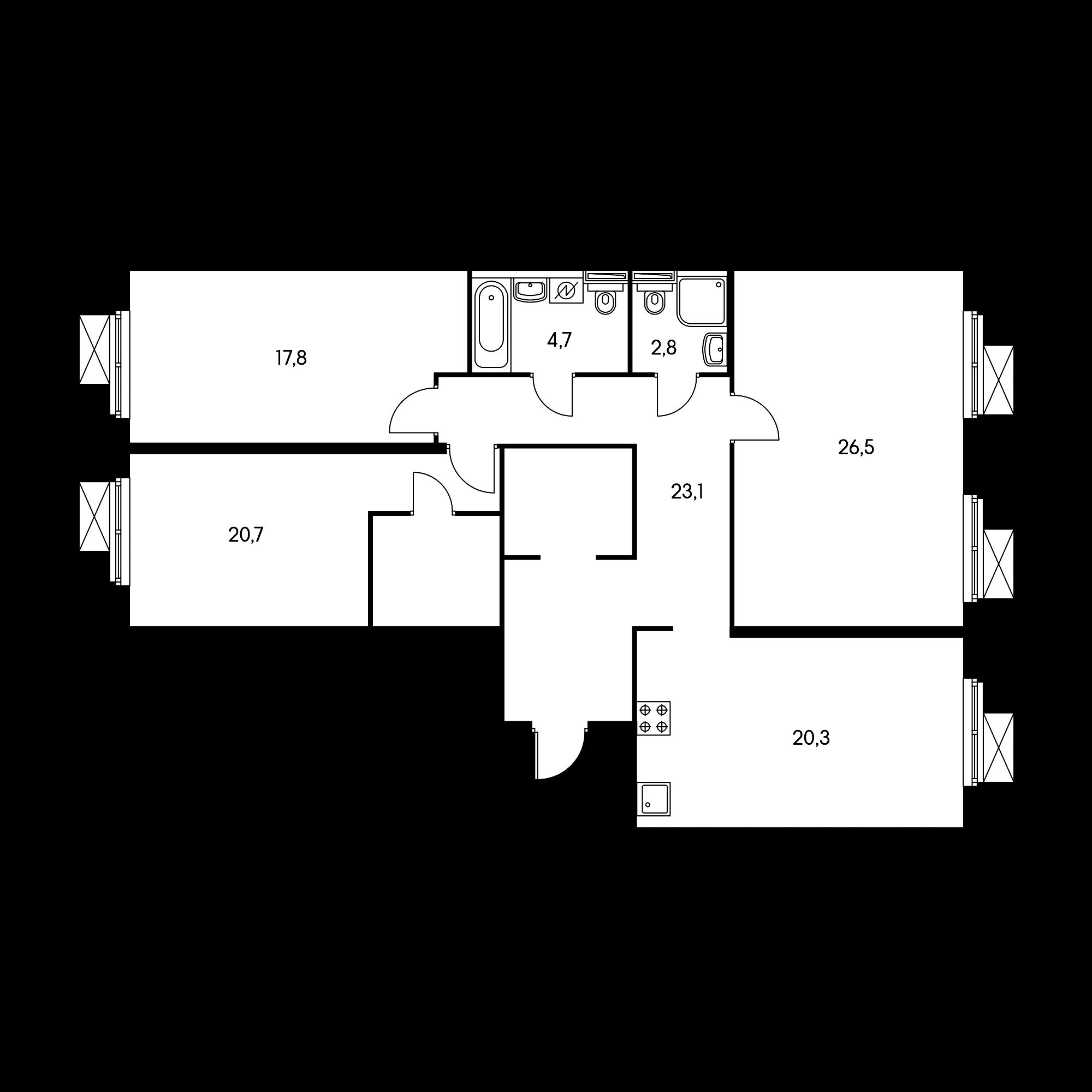 3-комнатная 114.8 м²