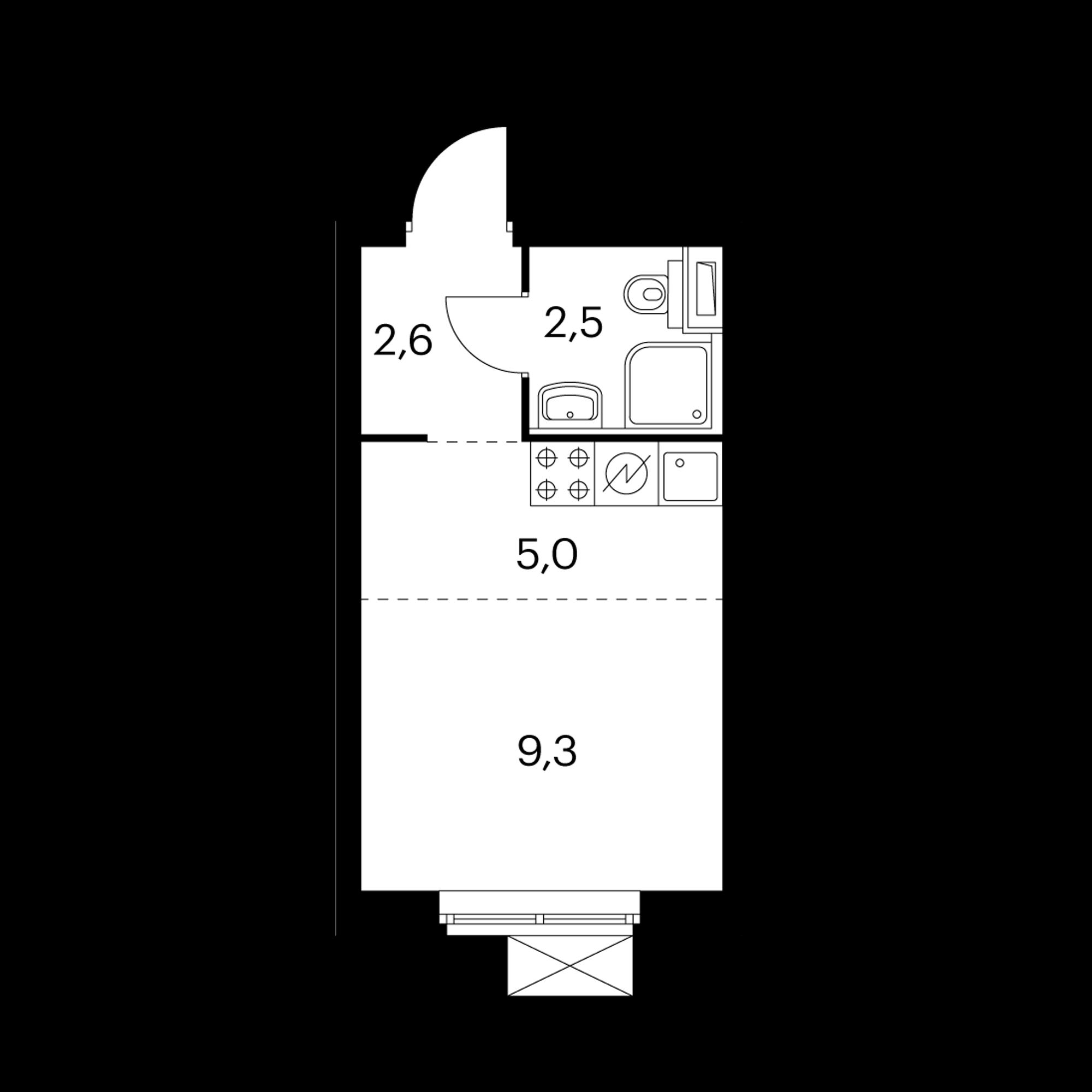 Студия 19.4  м²
