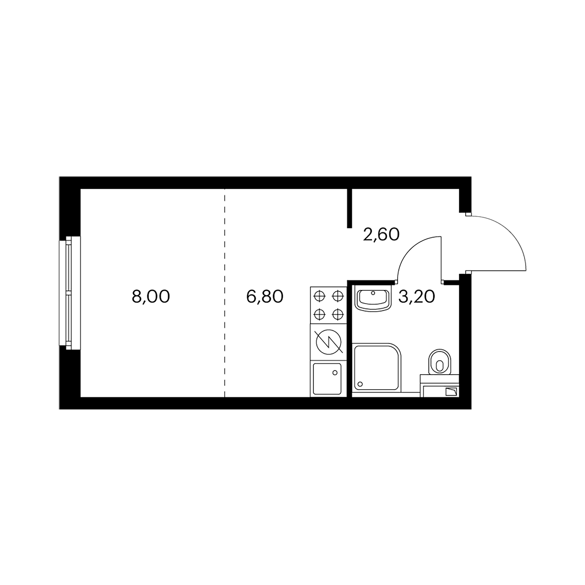 Студия 20.6 м²