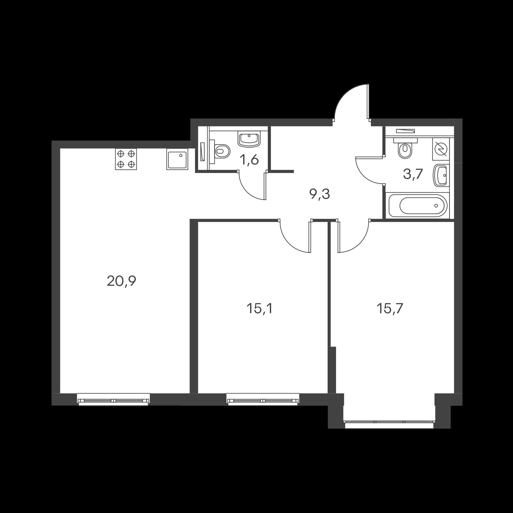 2-комнатная 66.3 м²
