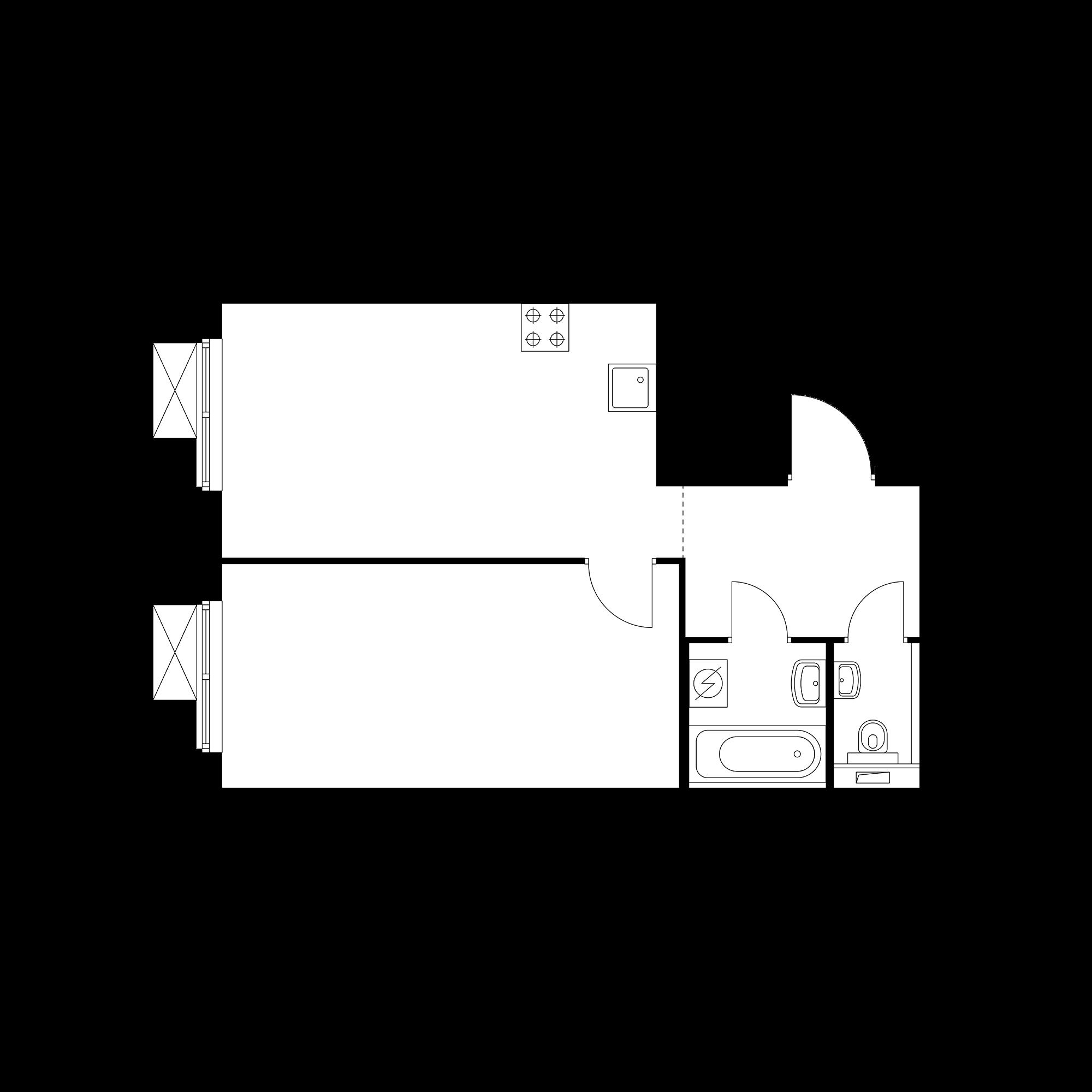 1-комнатная 44.25  м²