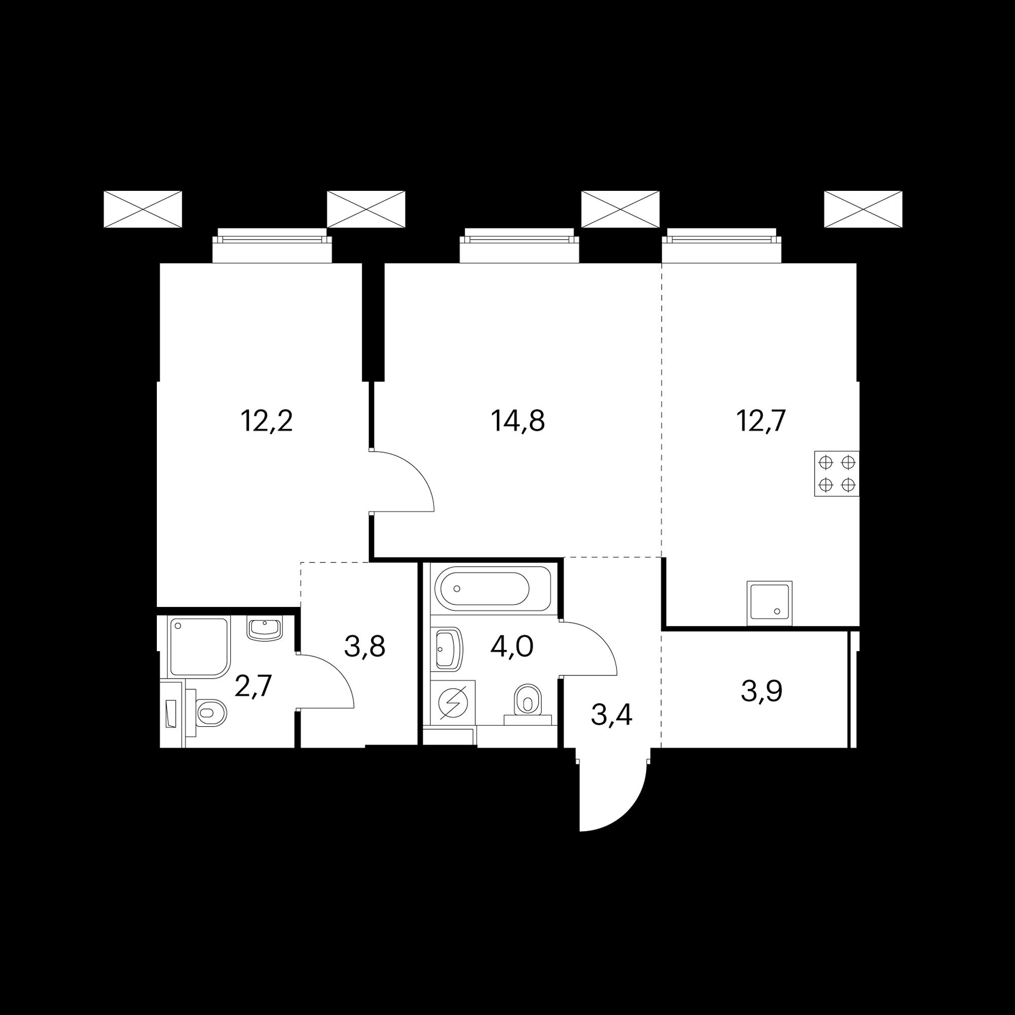 2-комнатные 57.5 м²