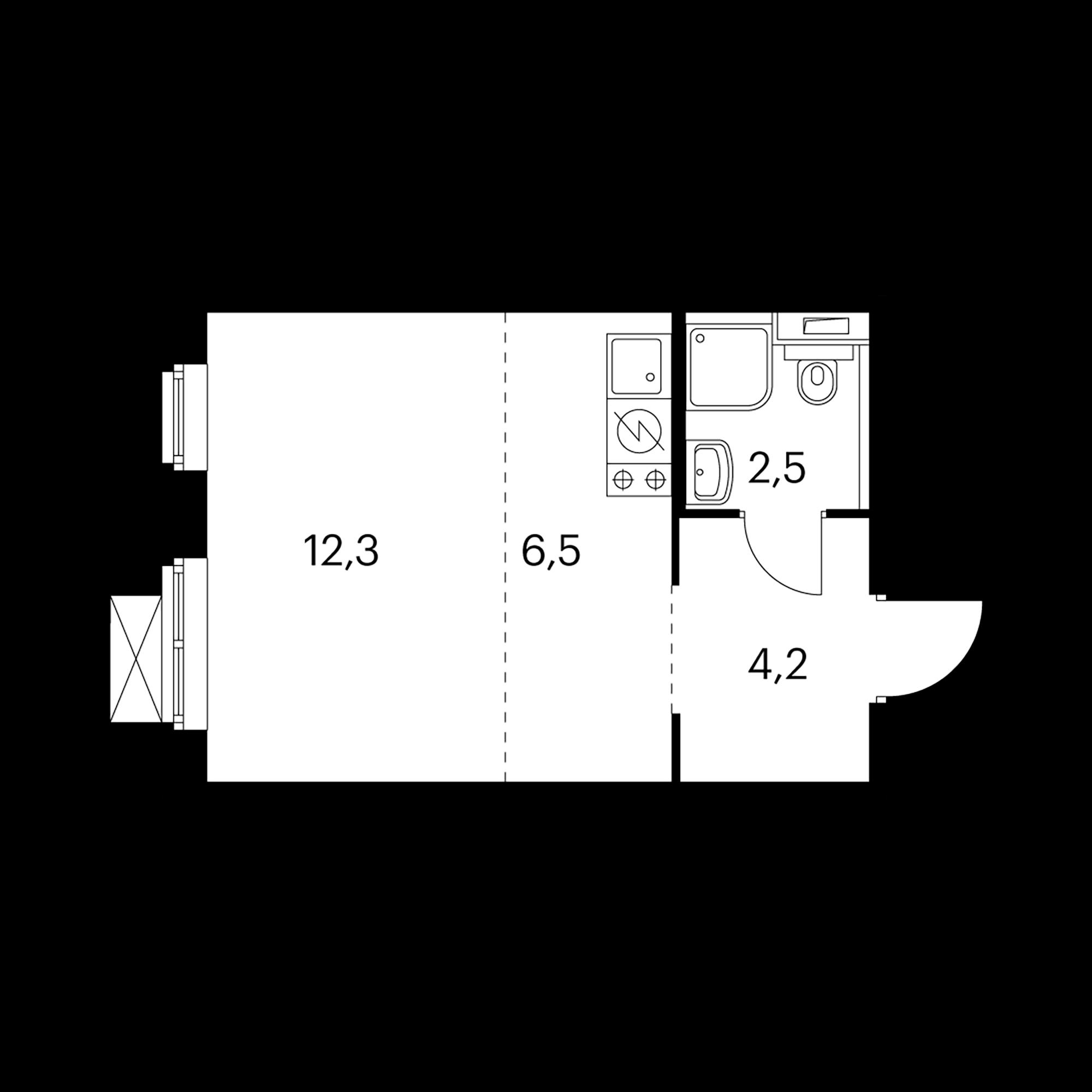 Студия 25.6 м²