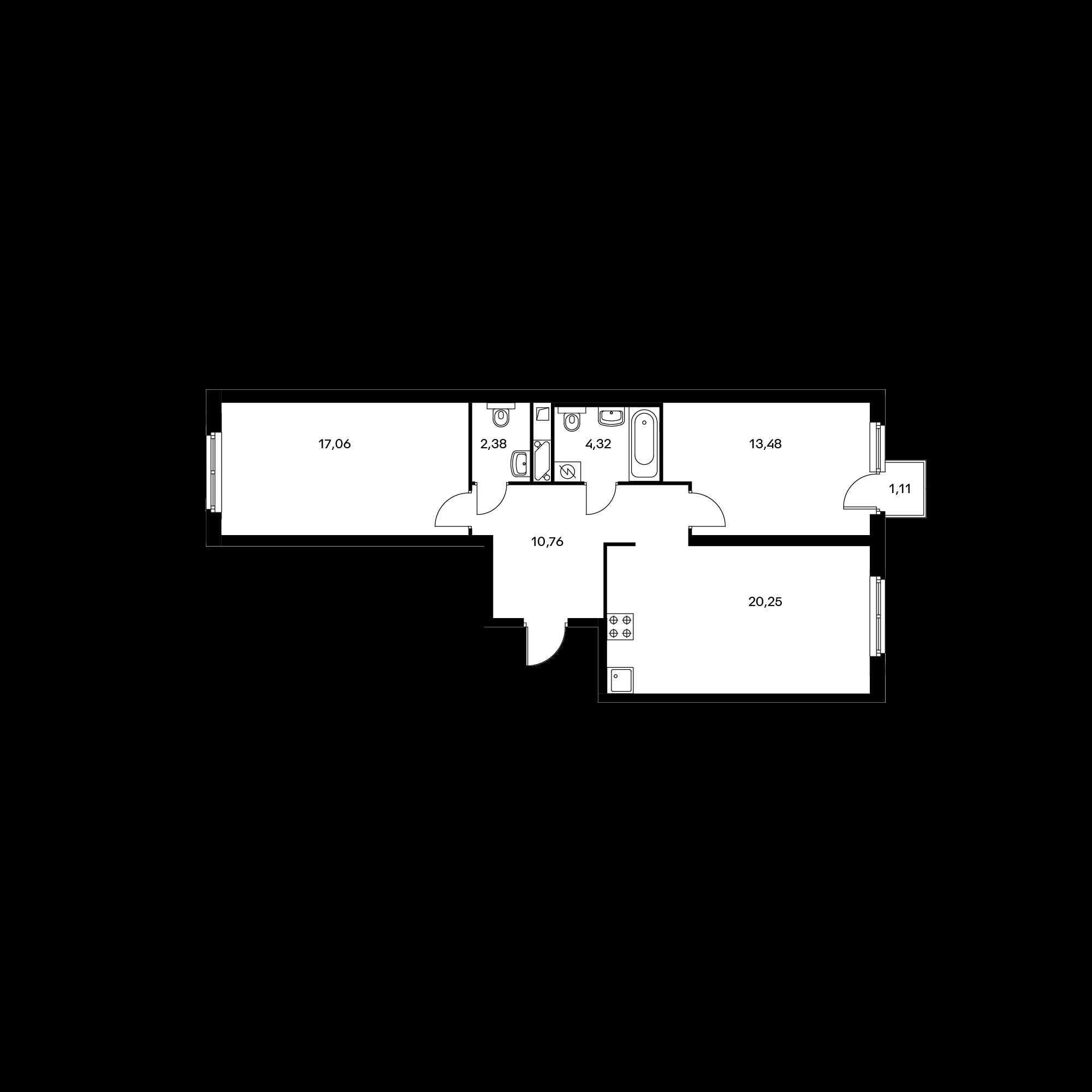 2-комнатная 68.68 м²
