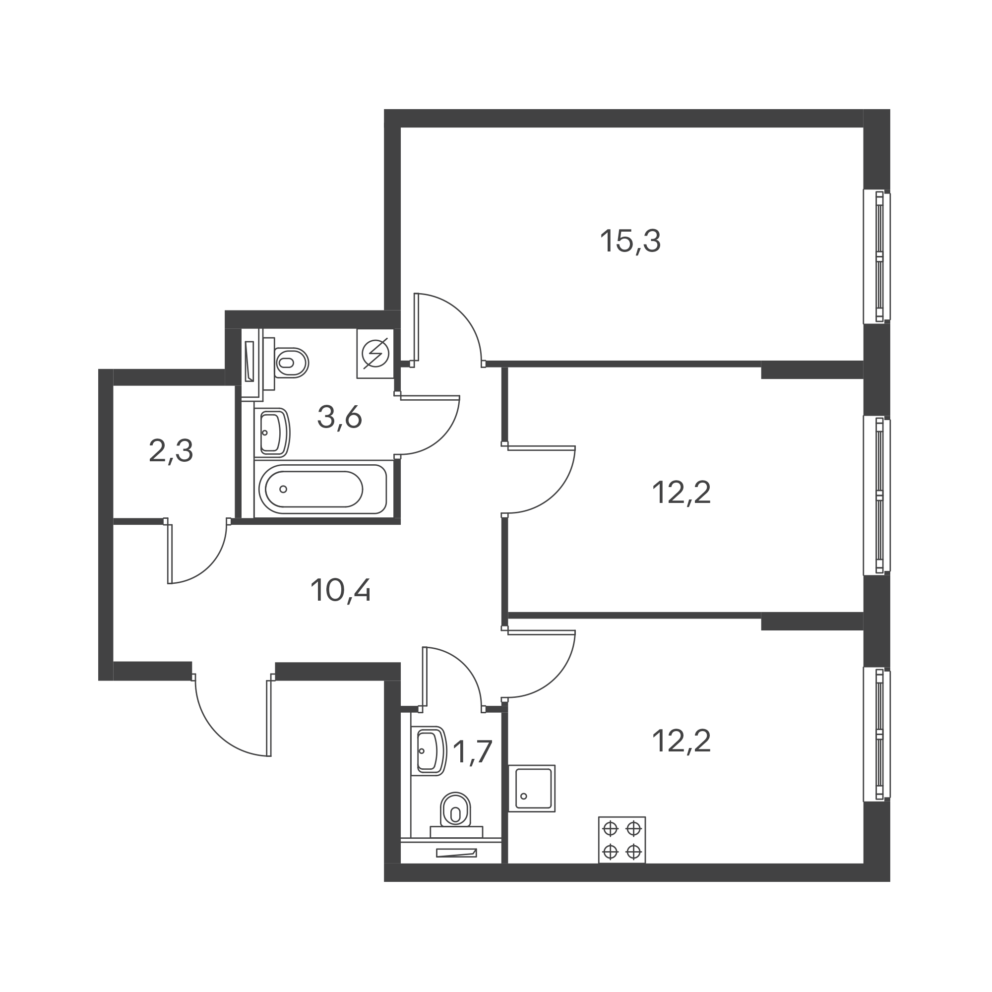 2-комнатная 57.7  м²
