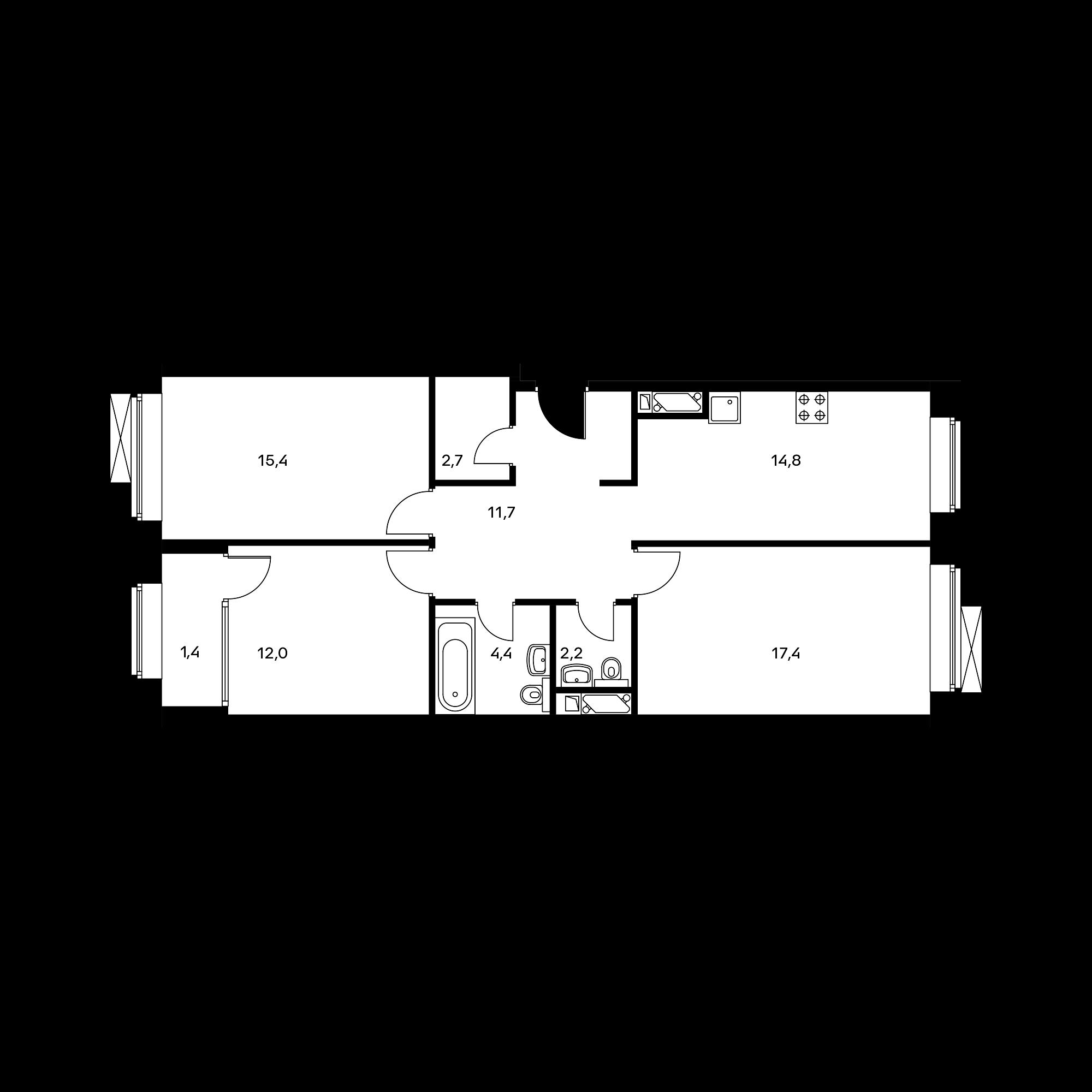 3-комнатная 82.5 м²