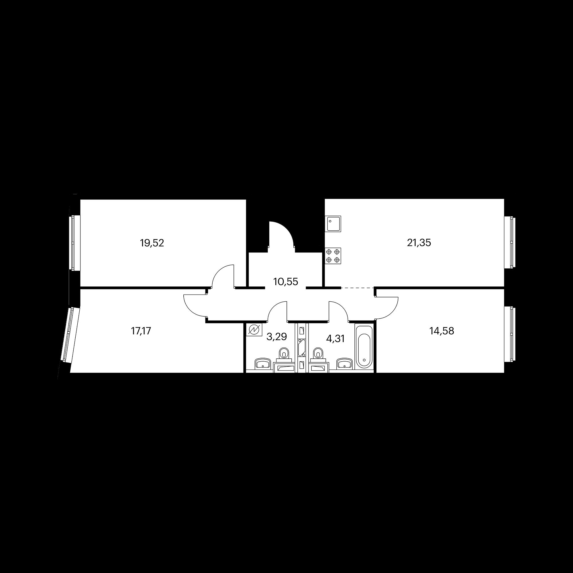 3-комнатная 90.76 м²