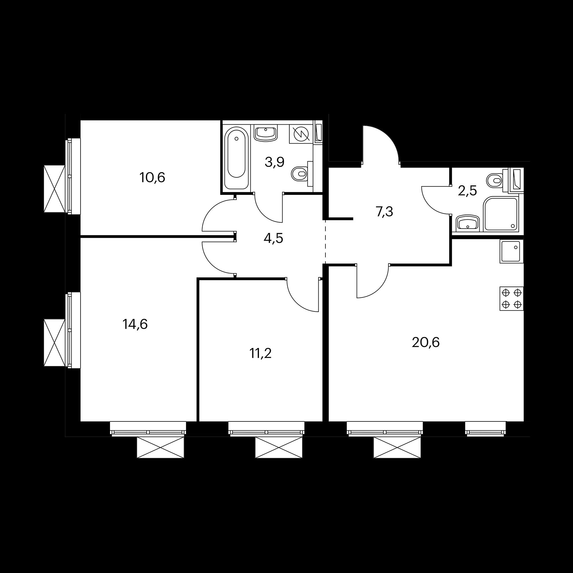 3-комнатная 75.2 м²