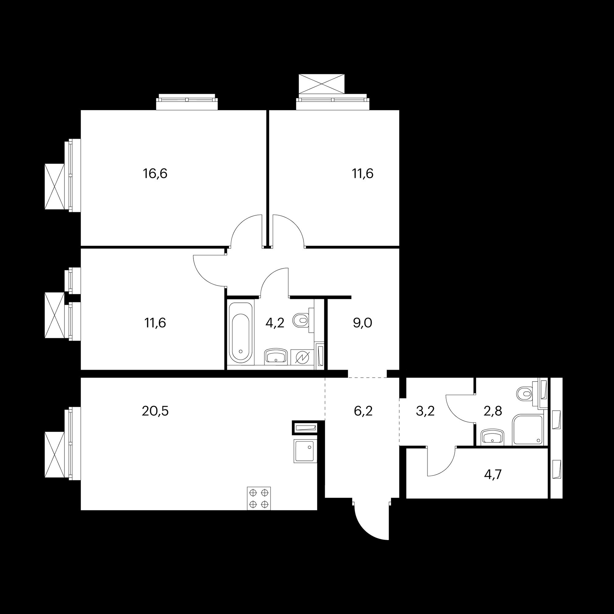 3-комнатная 90.4 м²