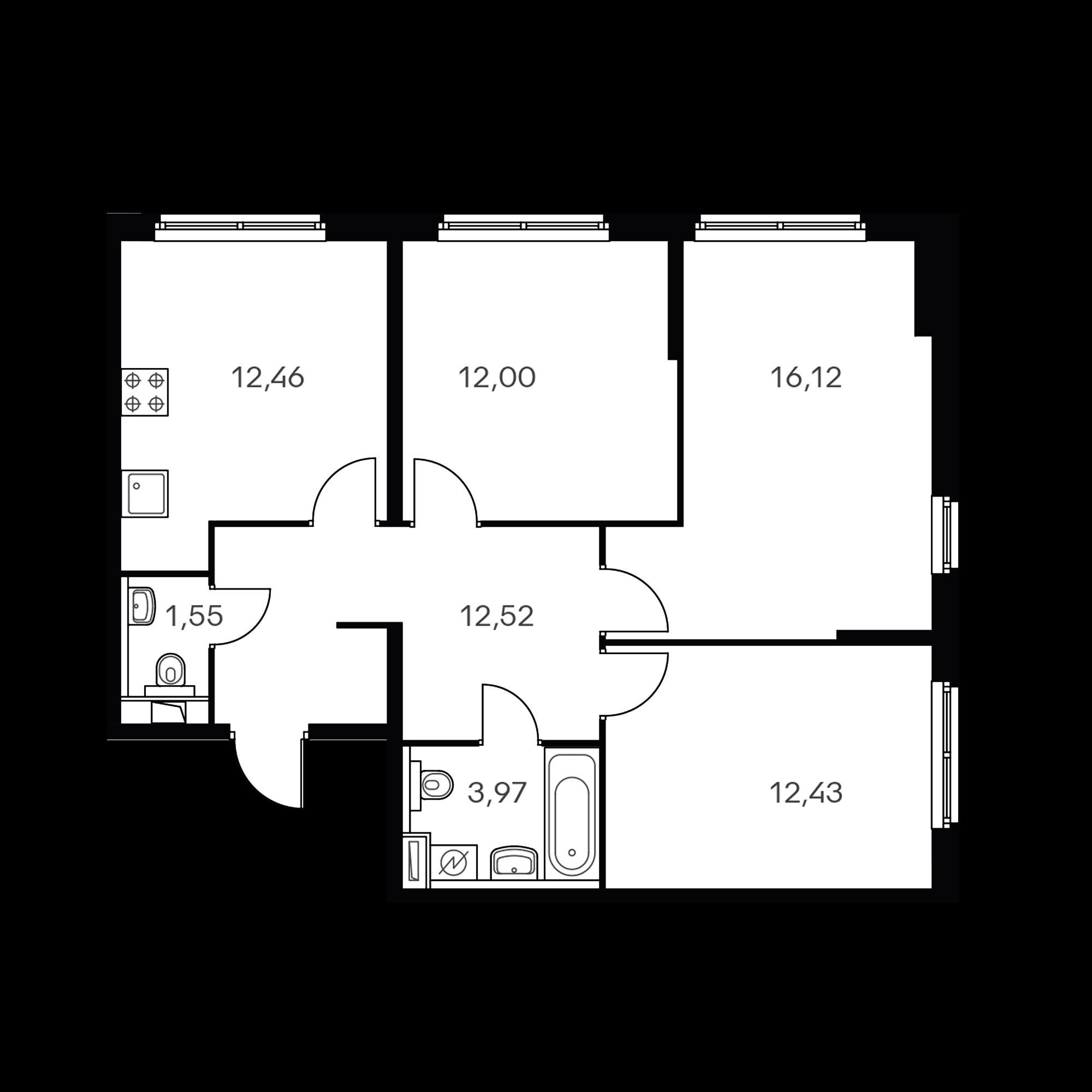 3-комнатная 71.07 м²