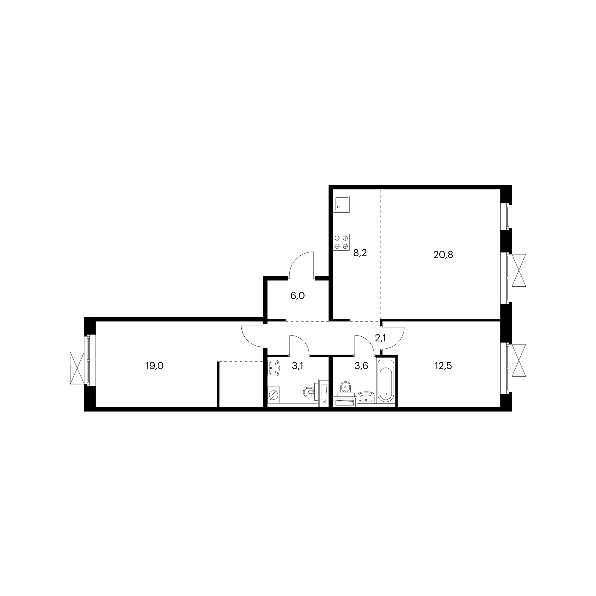 3-комнатная 75.7  м²
