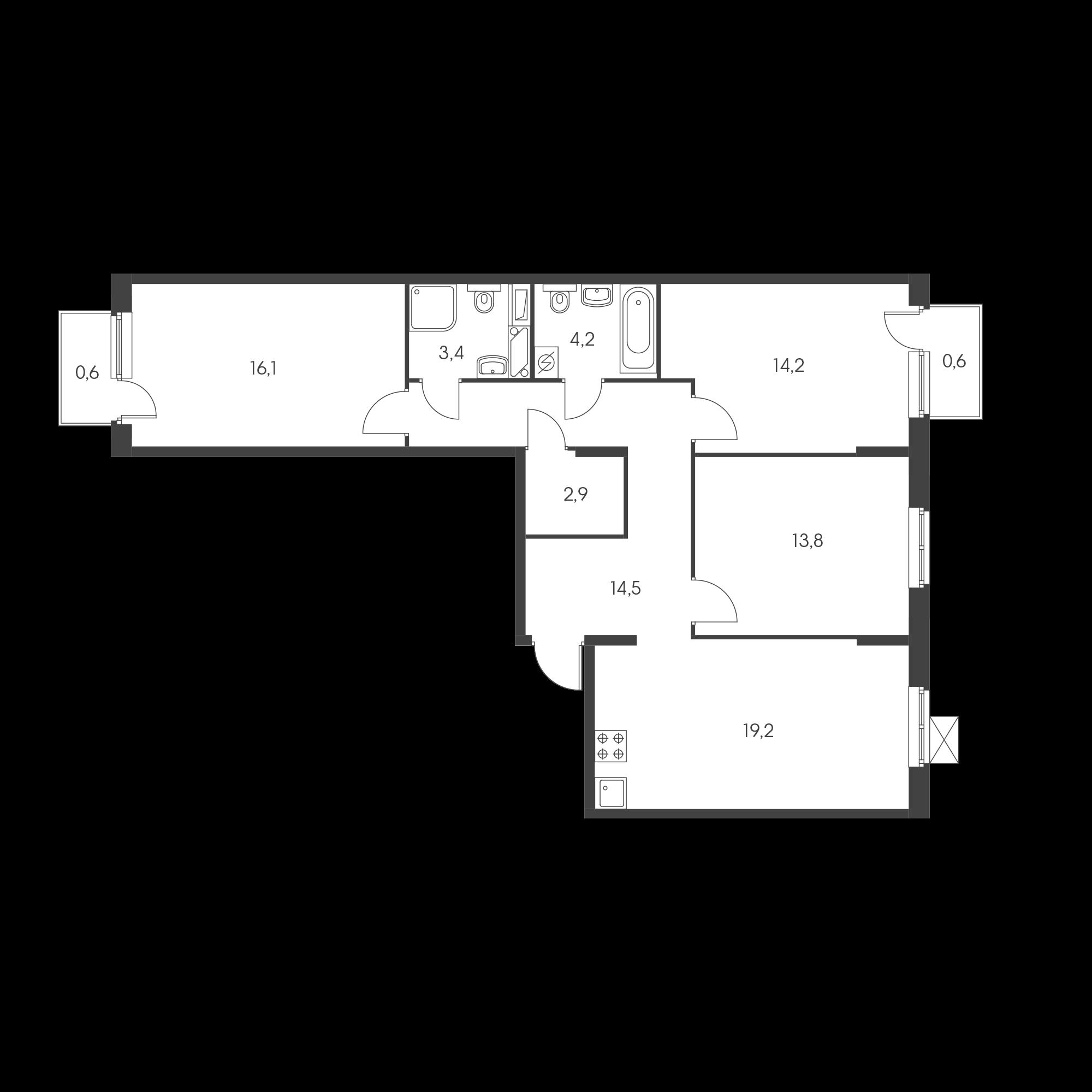 3-комнатная 88.6  м²