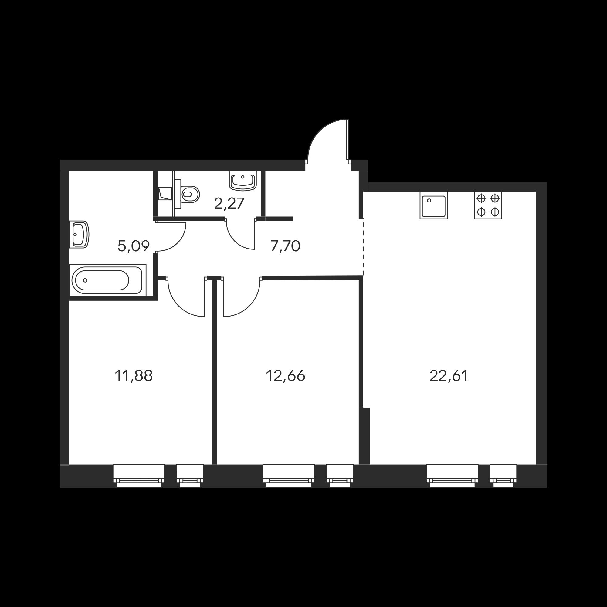 2-комнатная 62.21  м²