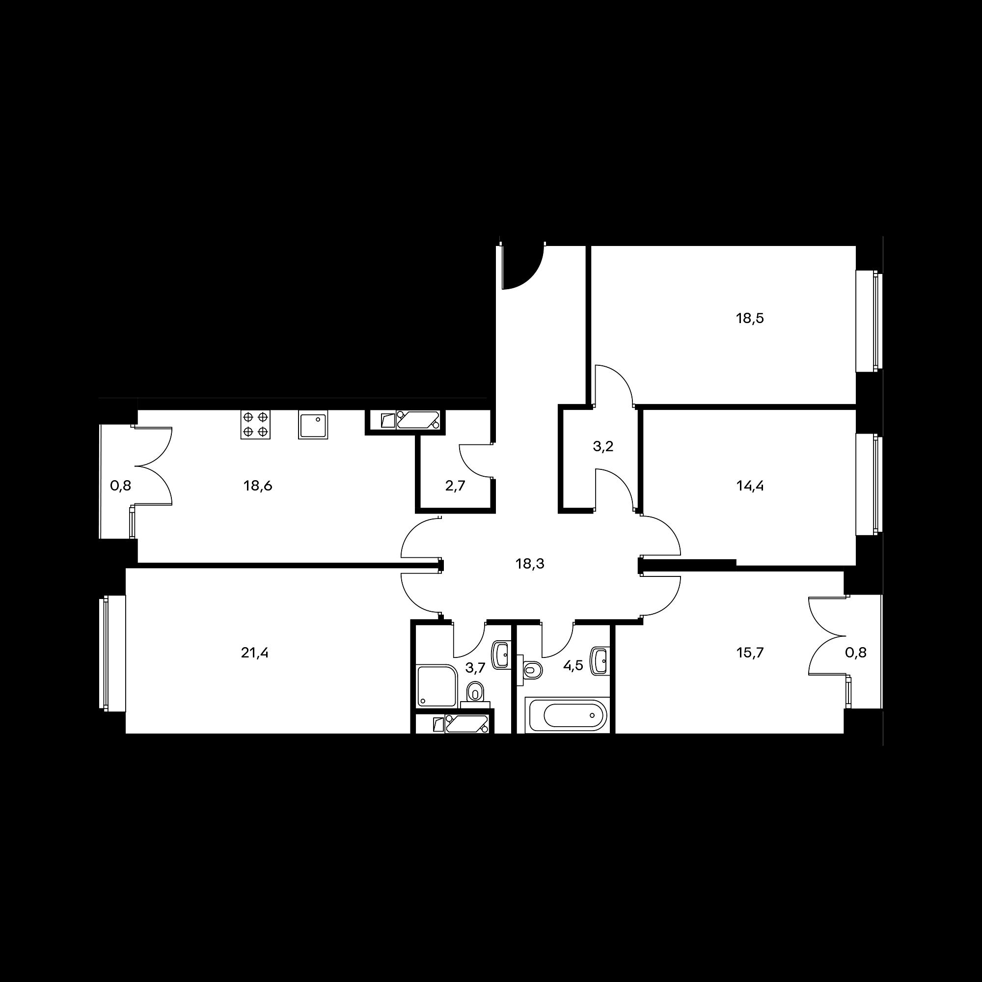 4-комнатная 121.7 м²