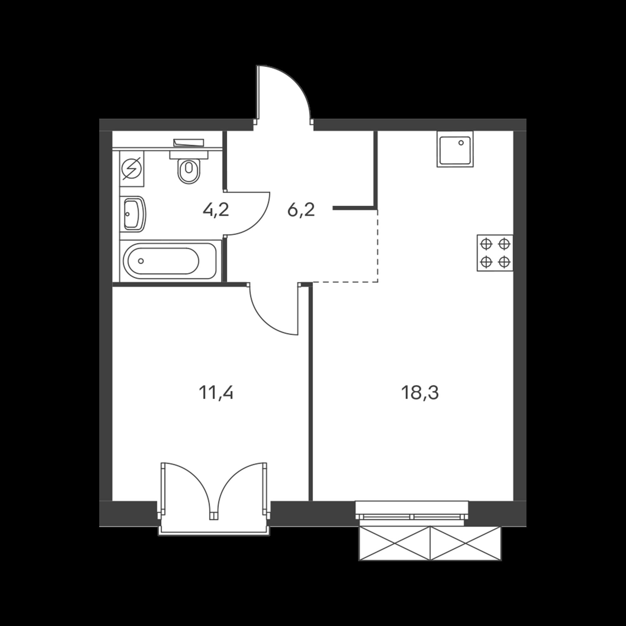 1-комнатная 40.1  м²