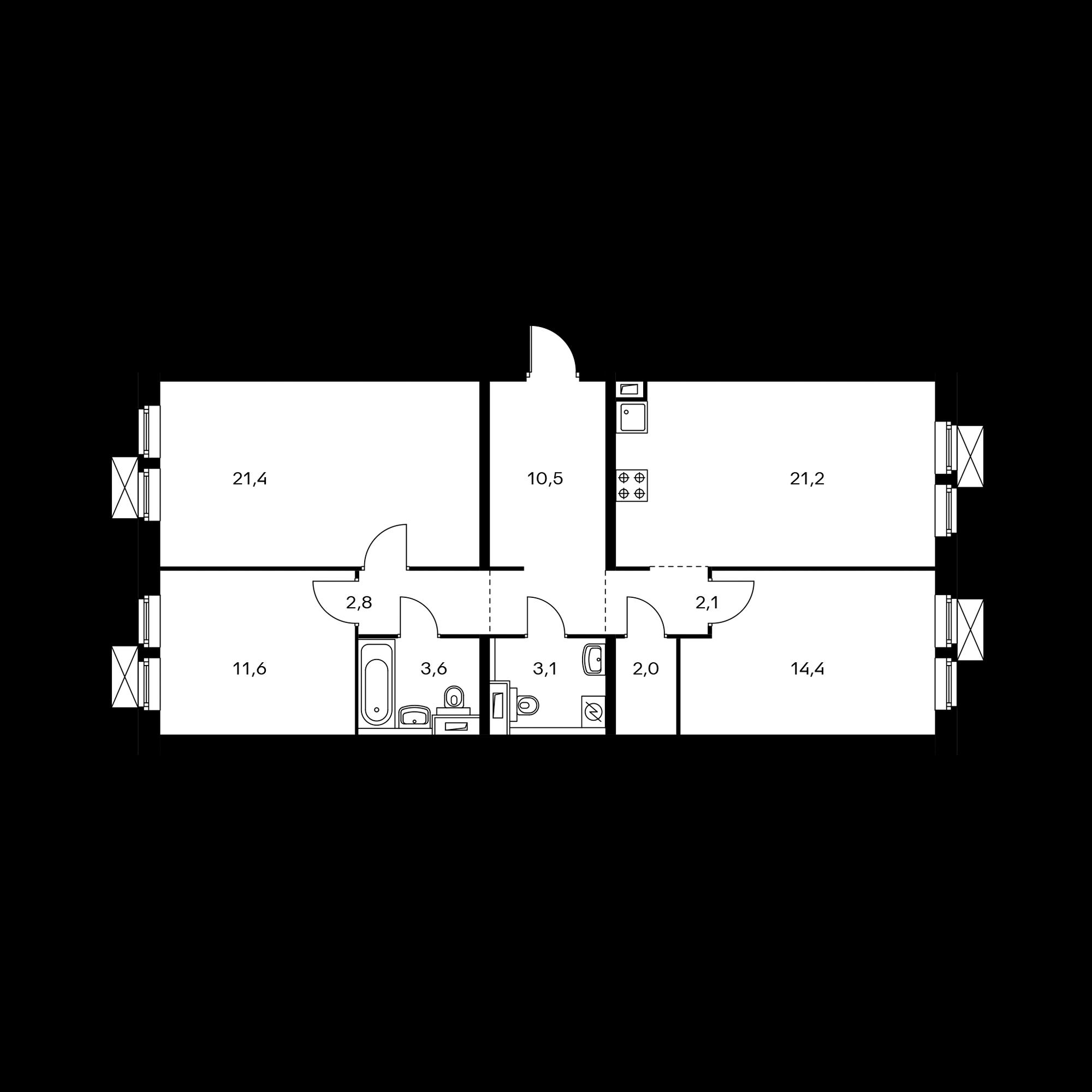 3-комнатная 92.7  м²