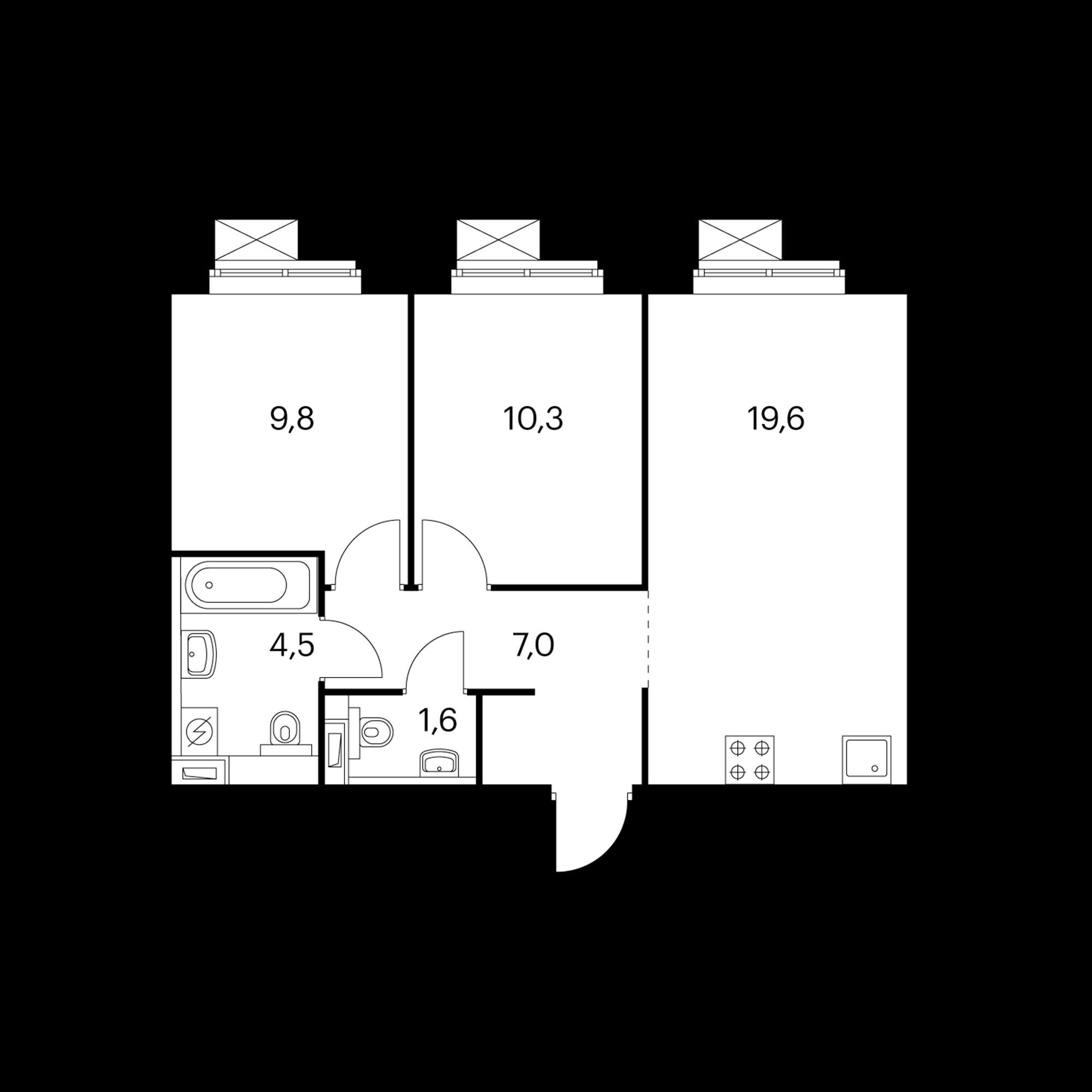 2-комнатная 52.4  м²