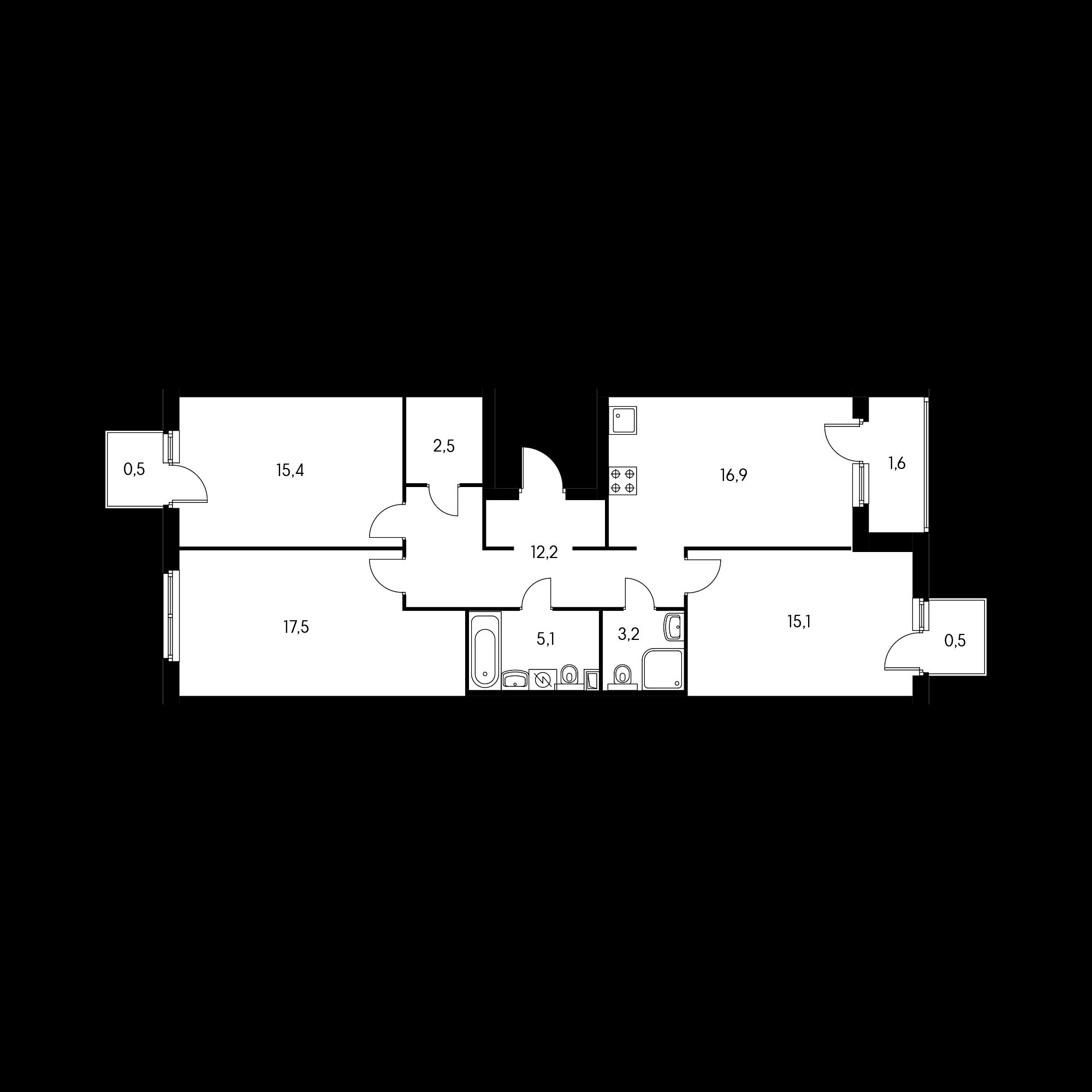 3-комнатная 89.7  м²