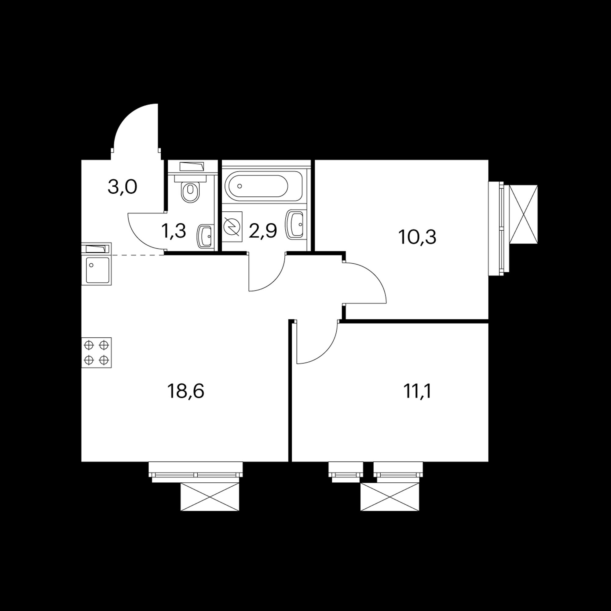 2-комнатная 47.4 м²