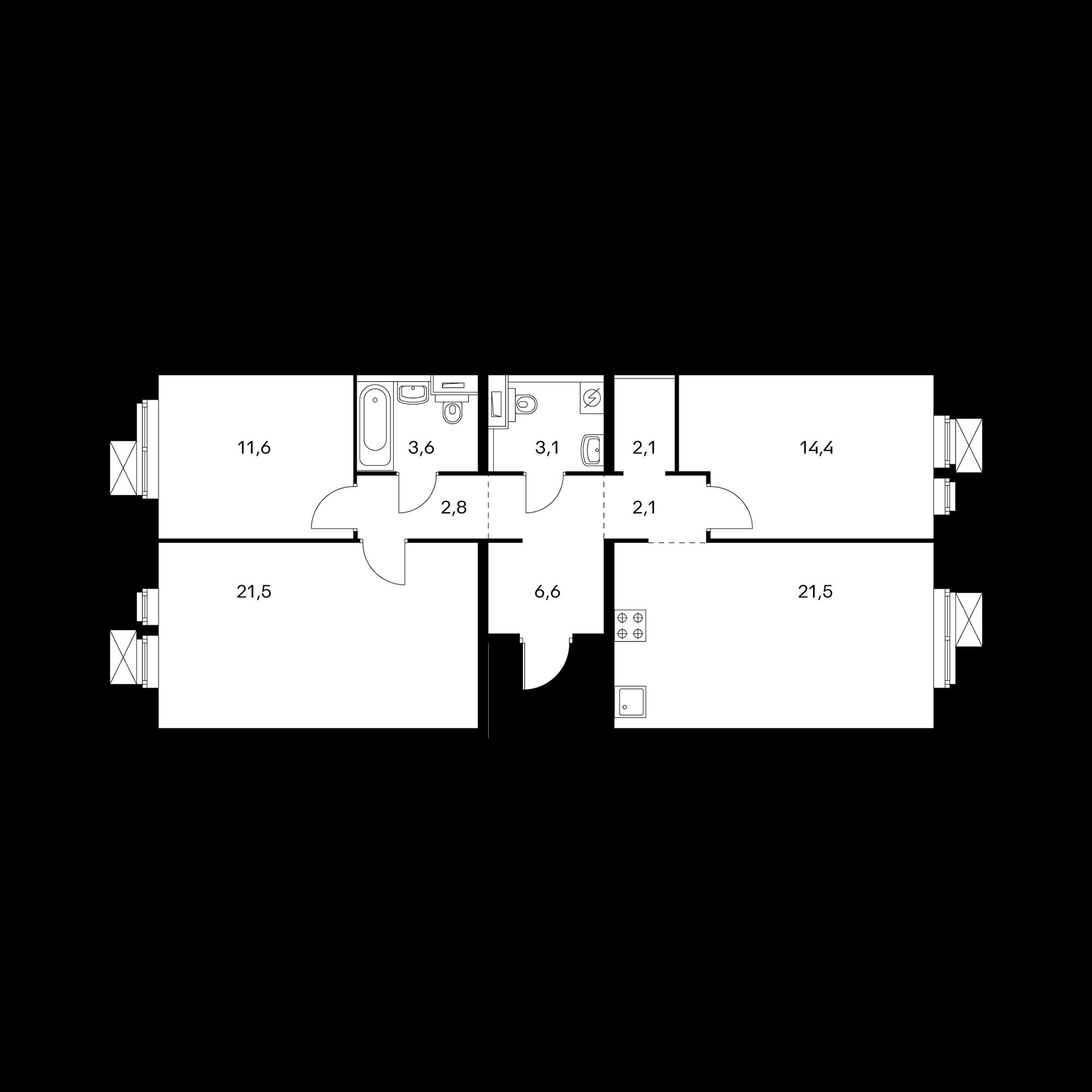 3-комнатная 89.3 м²