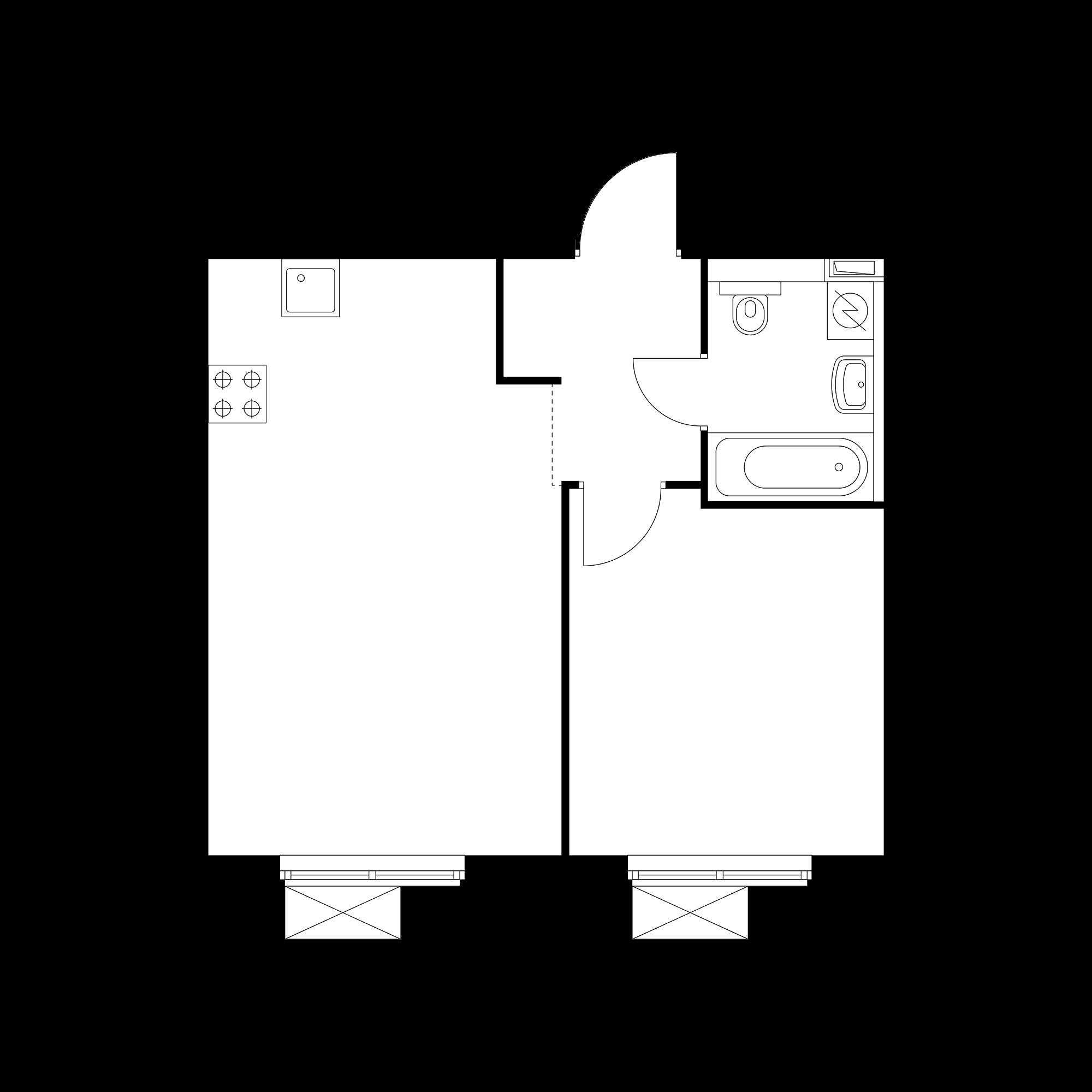 1-комнатная 41.93  м²
