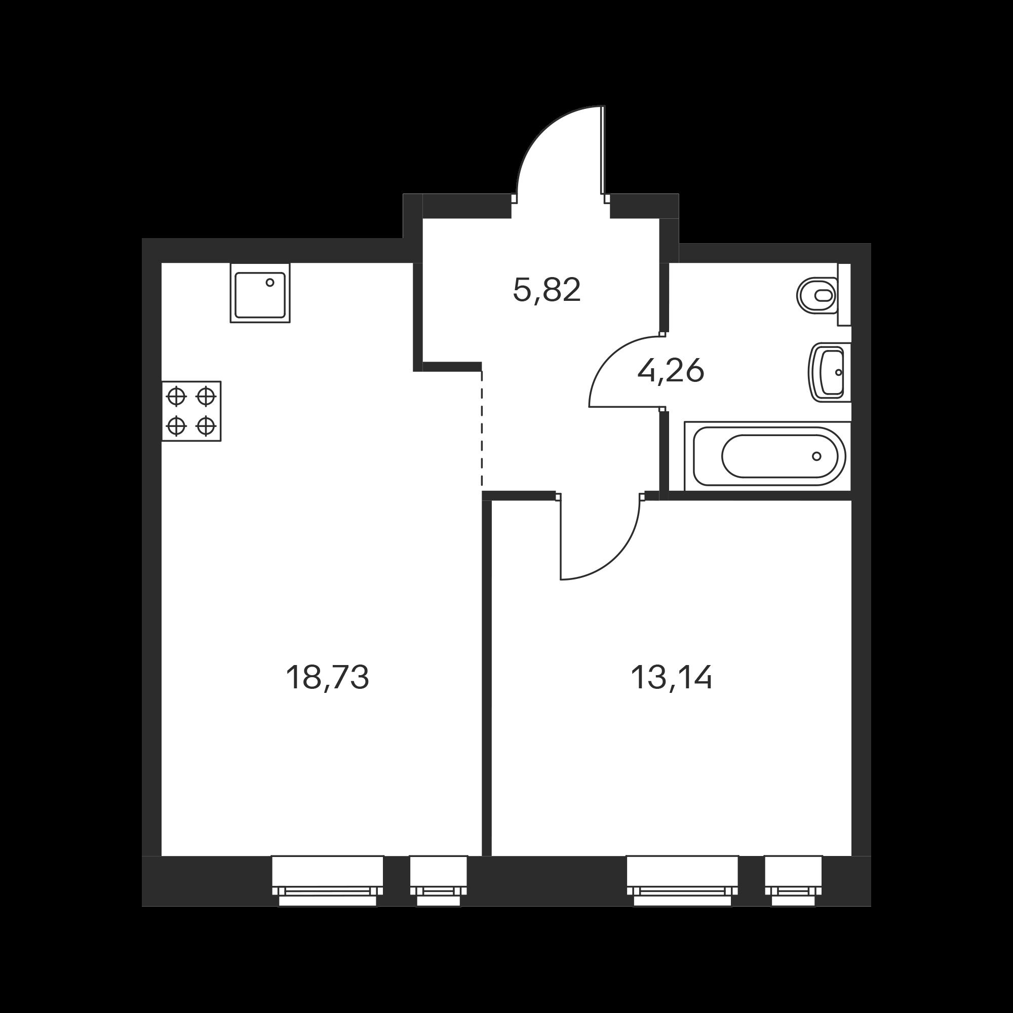 1-комнатная 41.95  м²