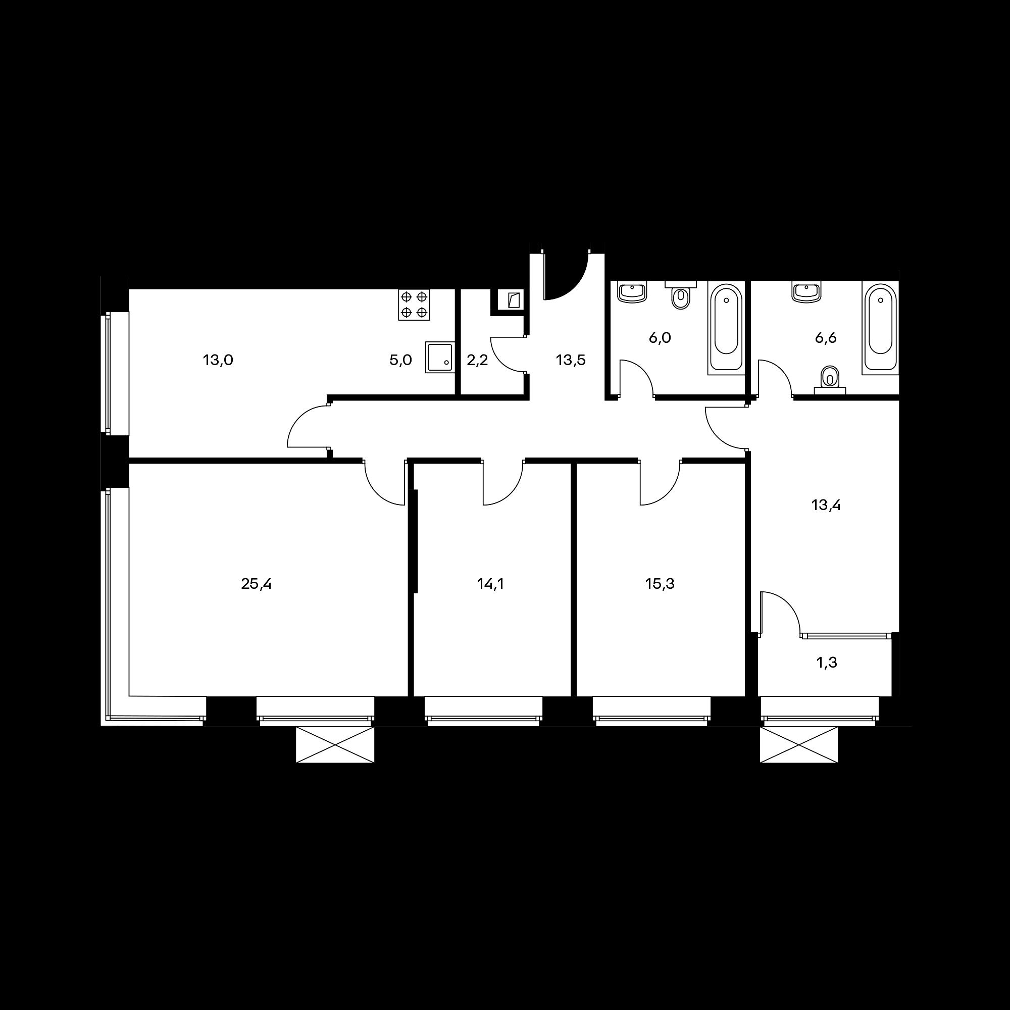 5-комнатная 116.6 м²