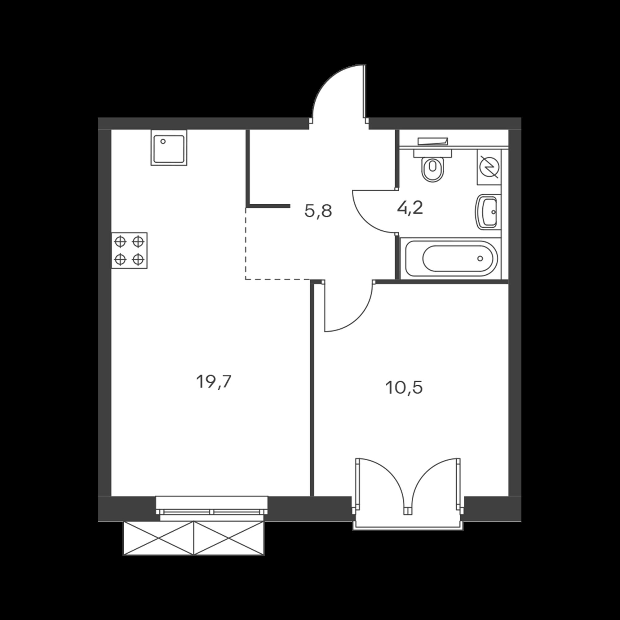 1-комнатная 40.3 м²