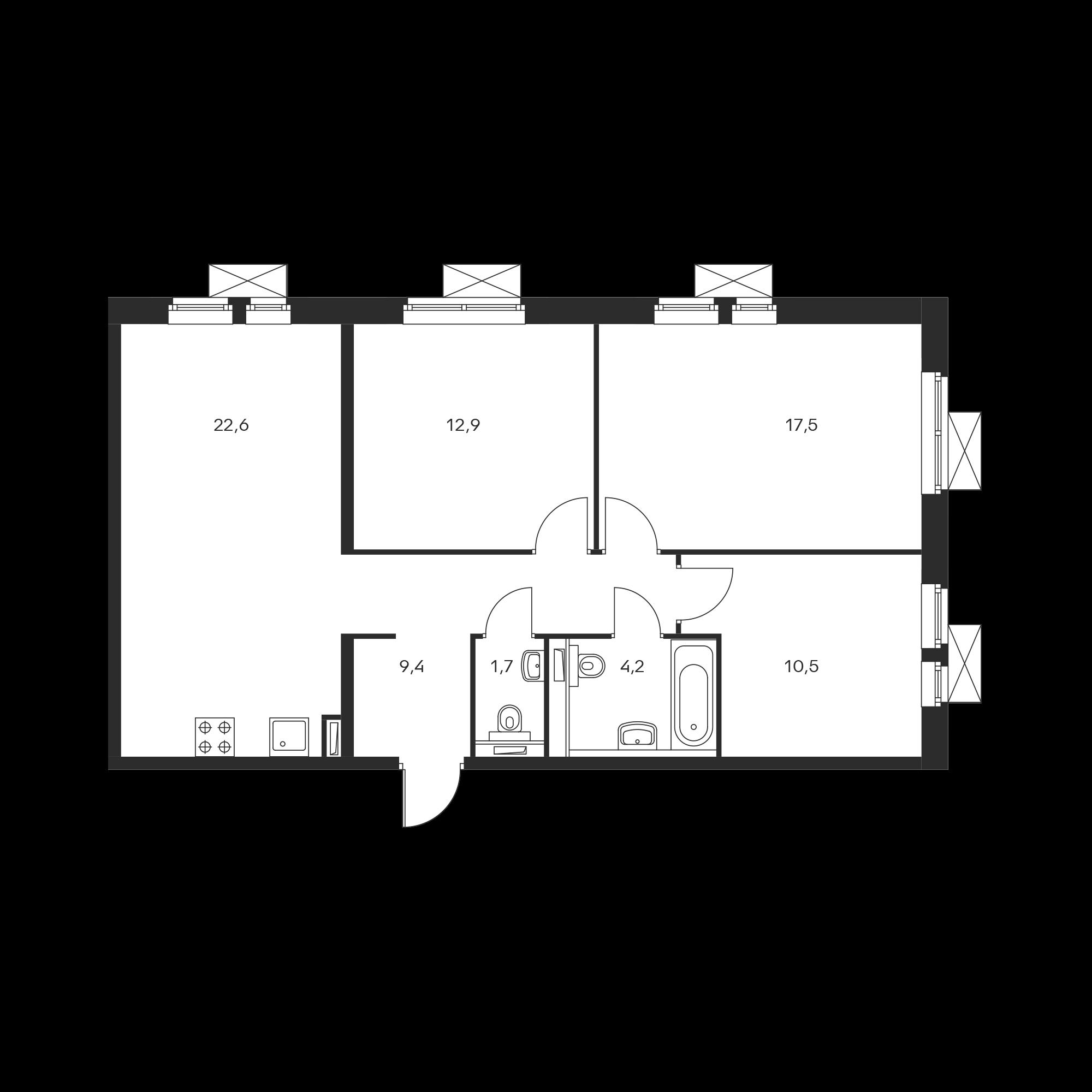 3-комнатная 78.8 м²