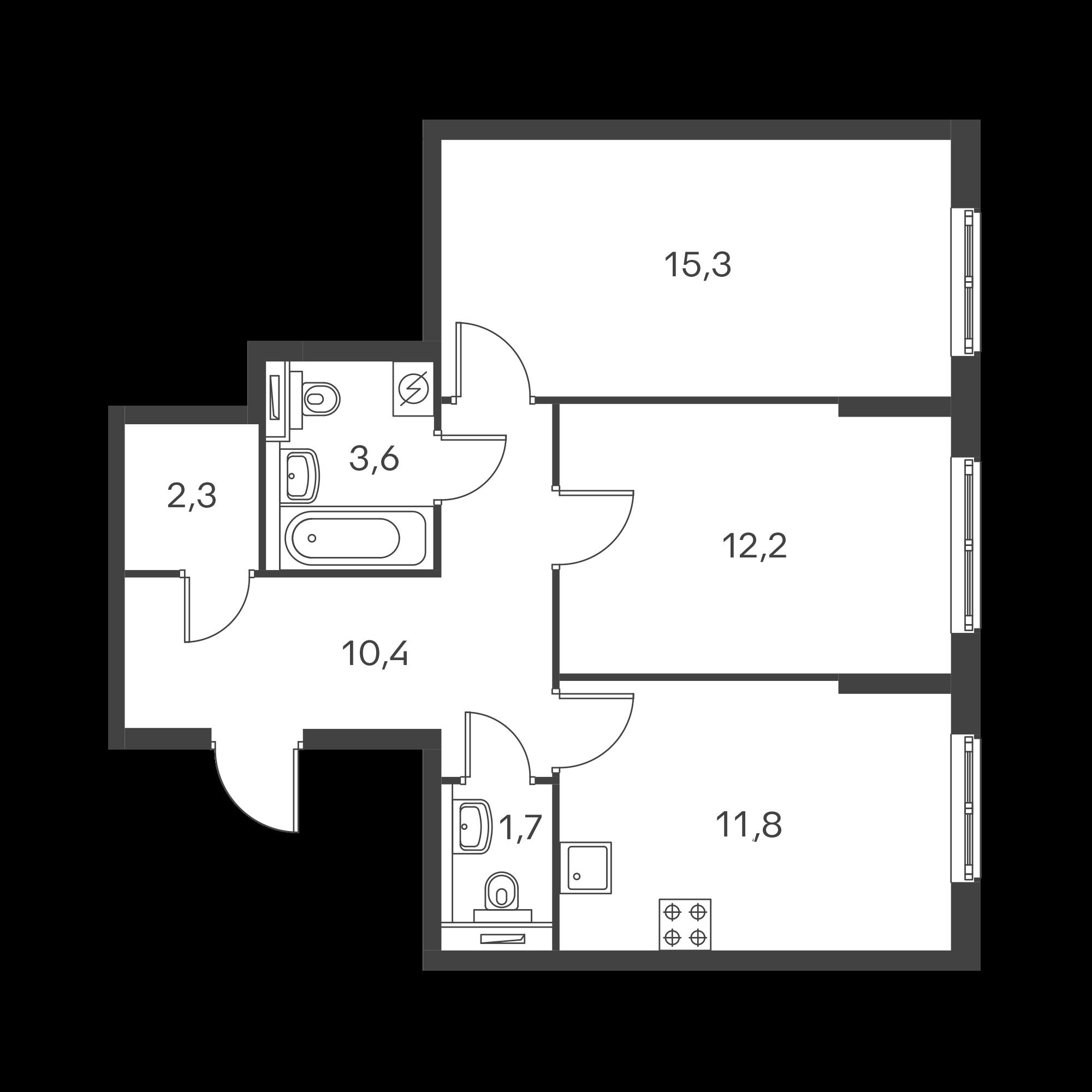 2-комнатная 57.3  м²