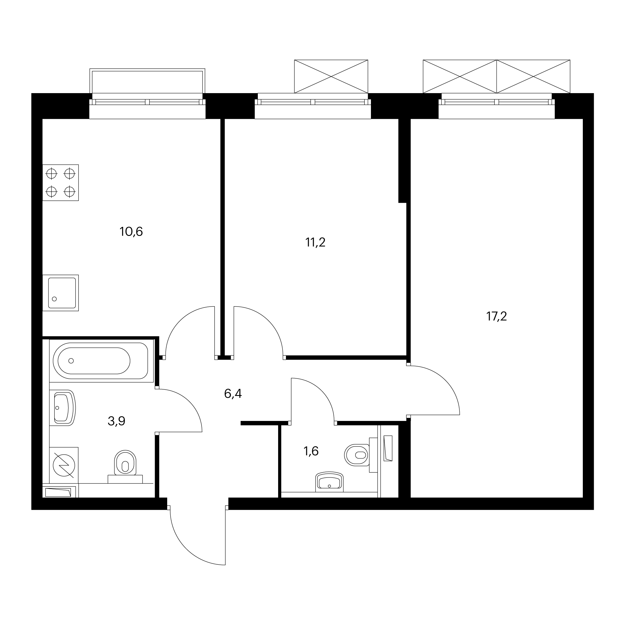 2-комнатная 50.9  м²