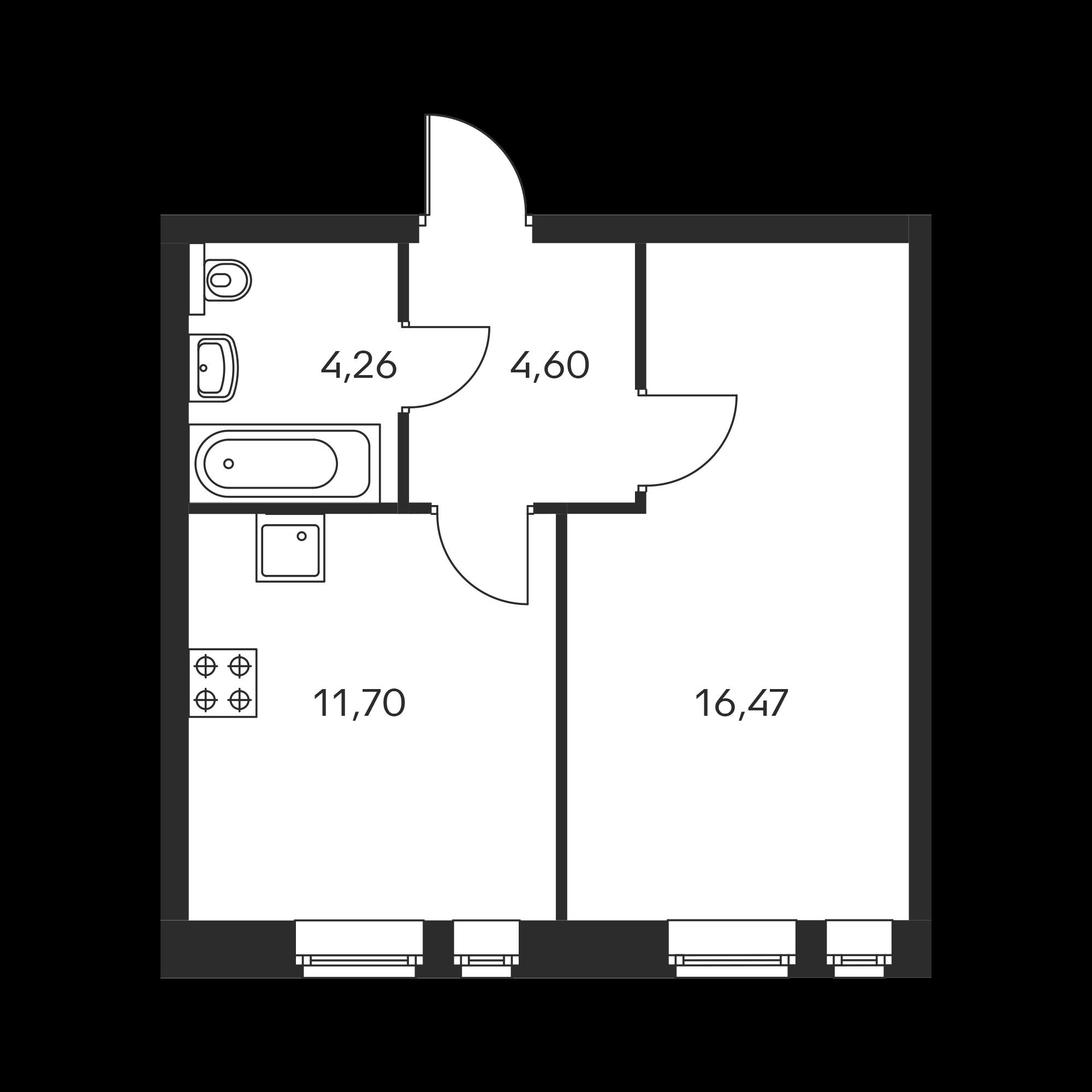 1-комнатная 37.03  м²