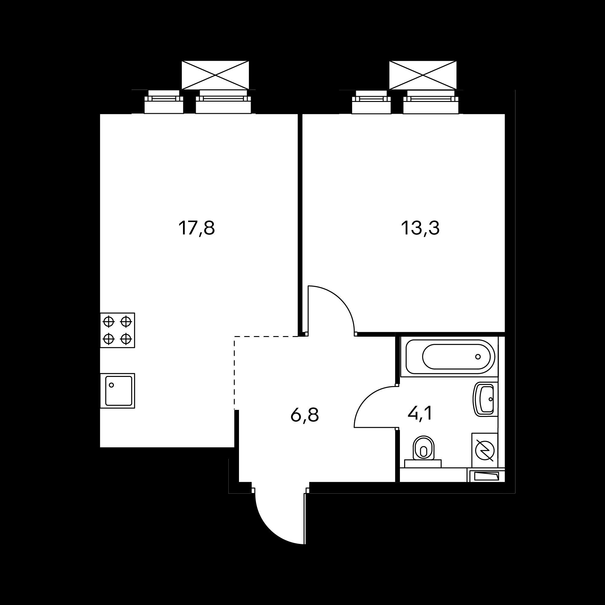 1-комнатная 42 м²