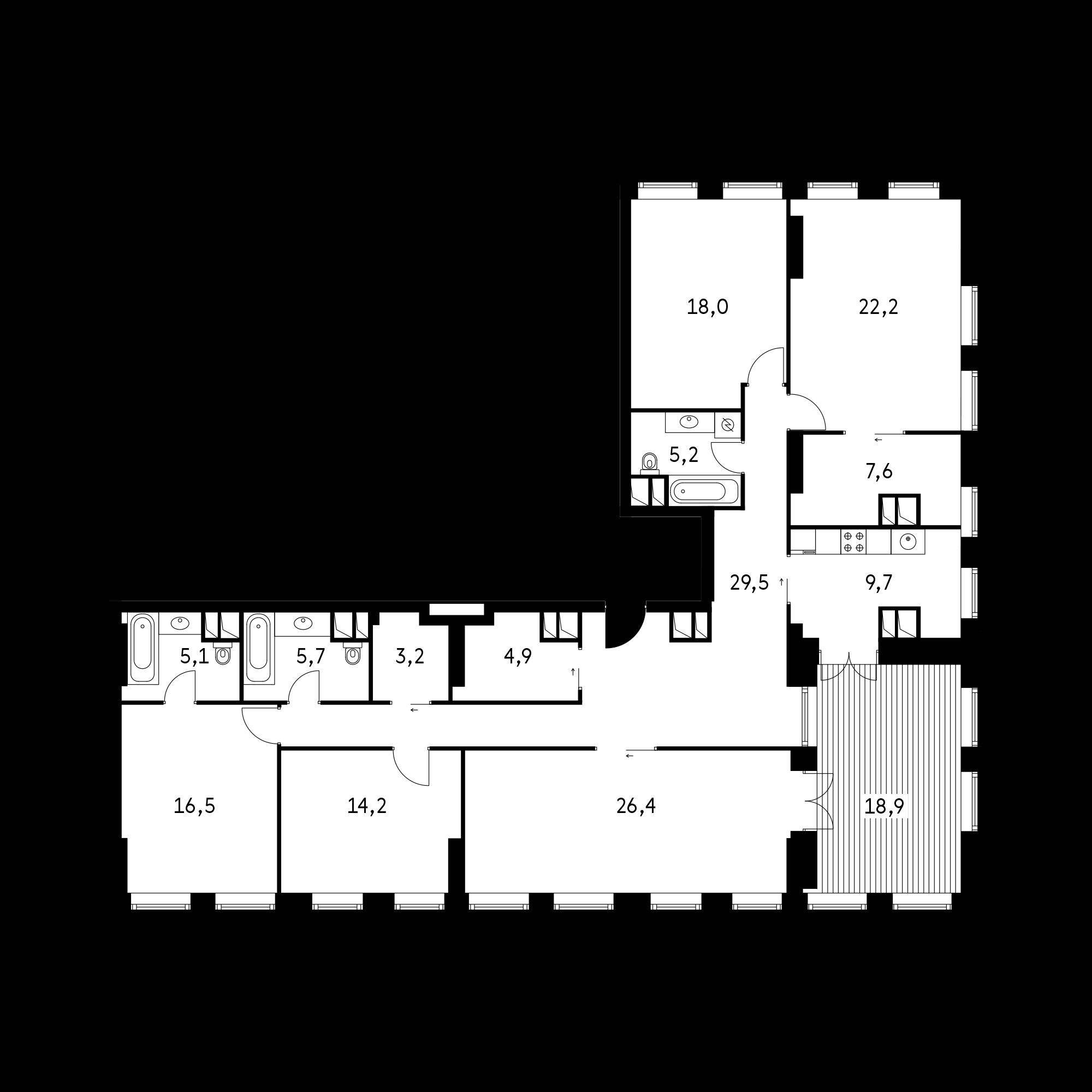 5-комнатная 174.4  м²