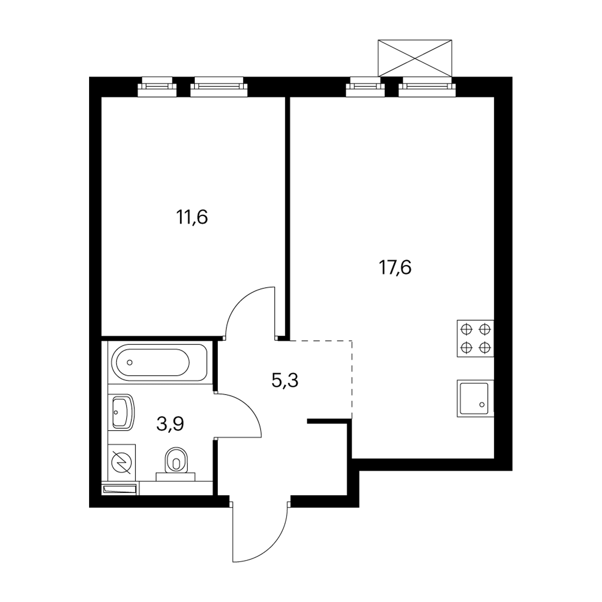 1-комнатная 38.4 м²