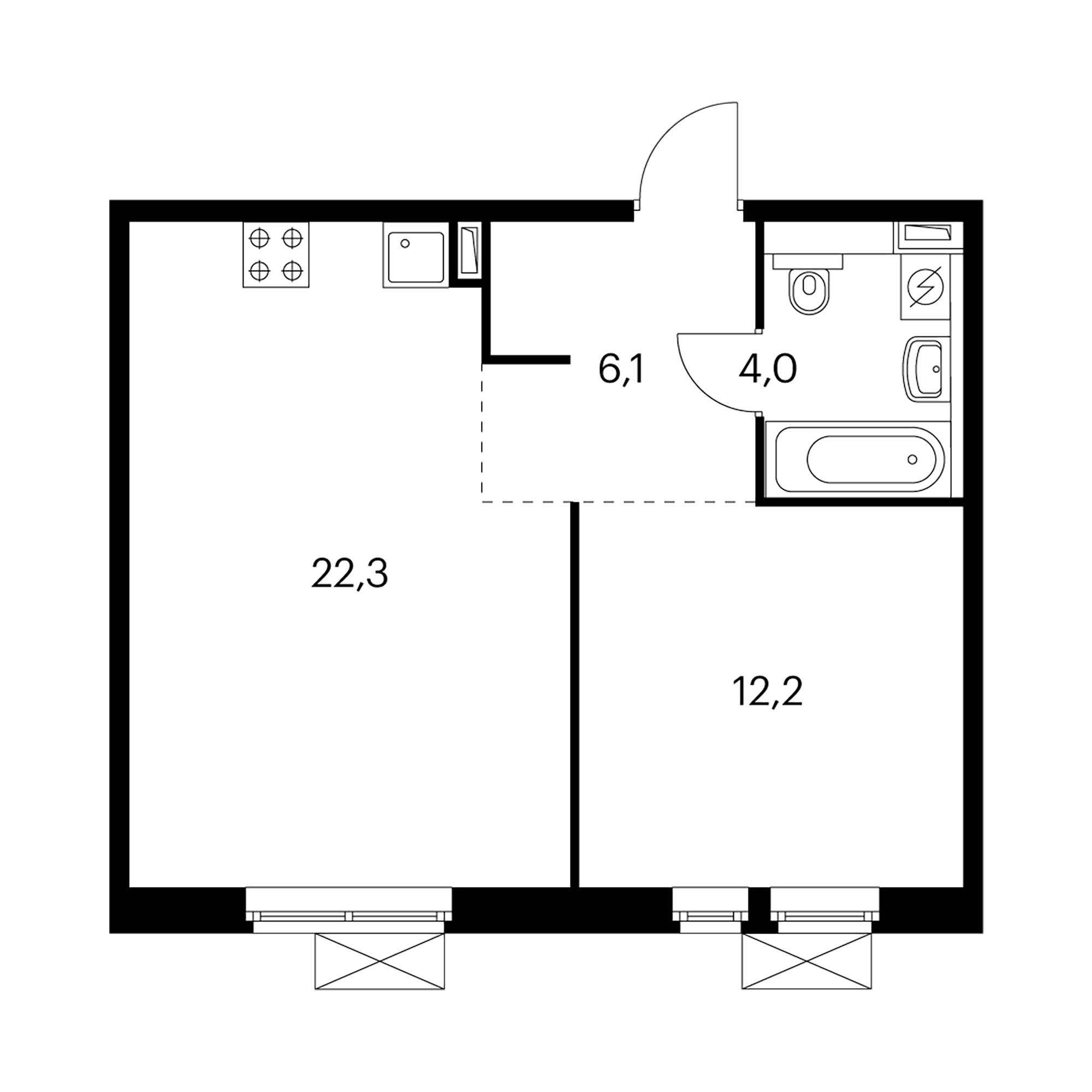 1-комнатная 44.7  м²